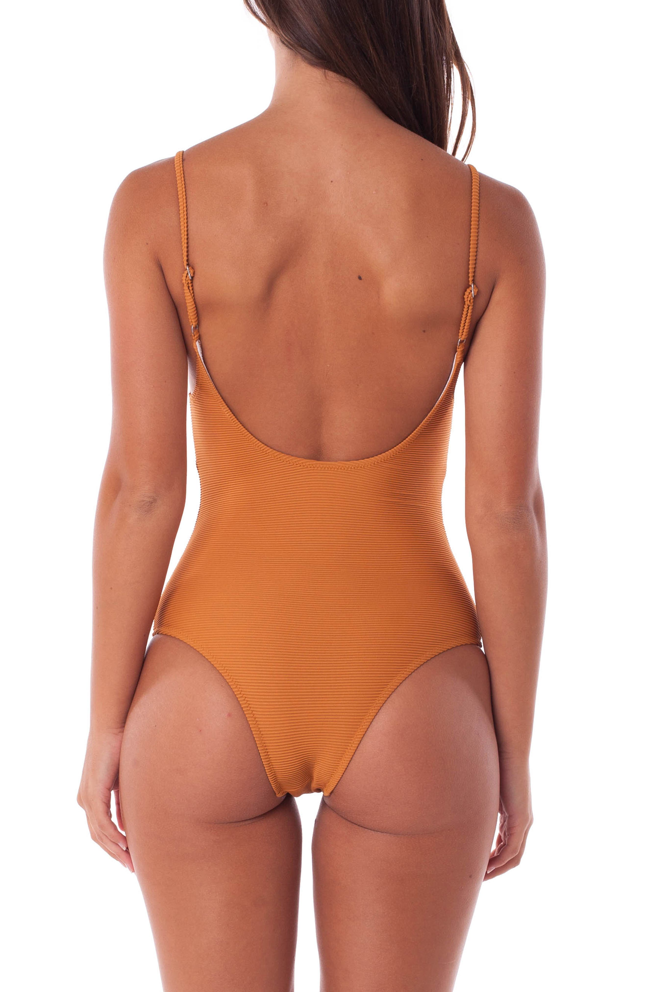 Palm Springs Ribbed One-Piece Swimsuit,                             Alternate thumbnail 2, color,                             GINGER