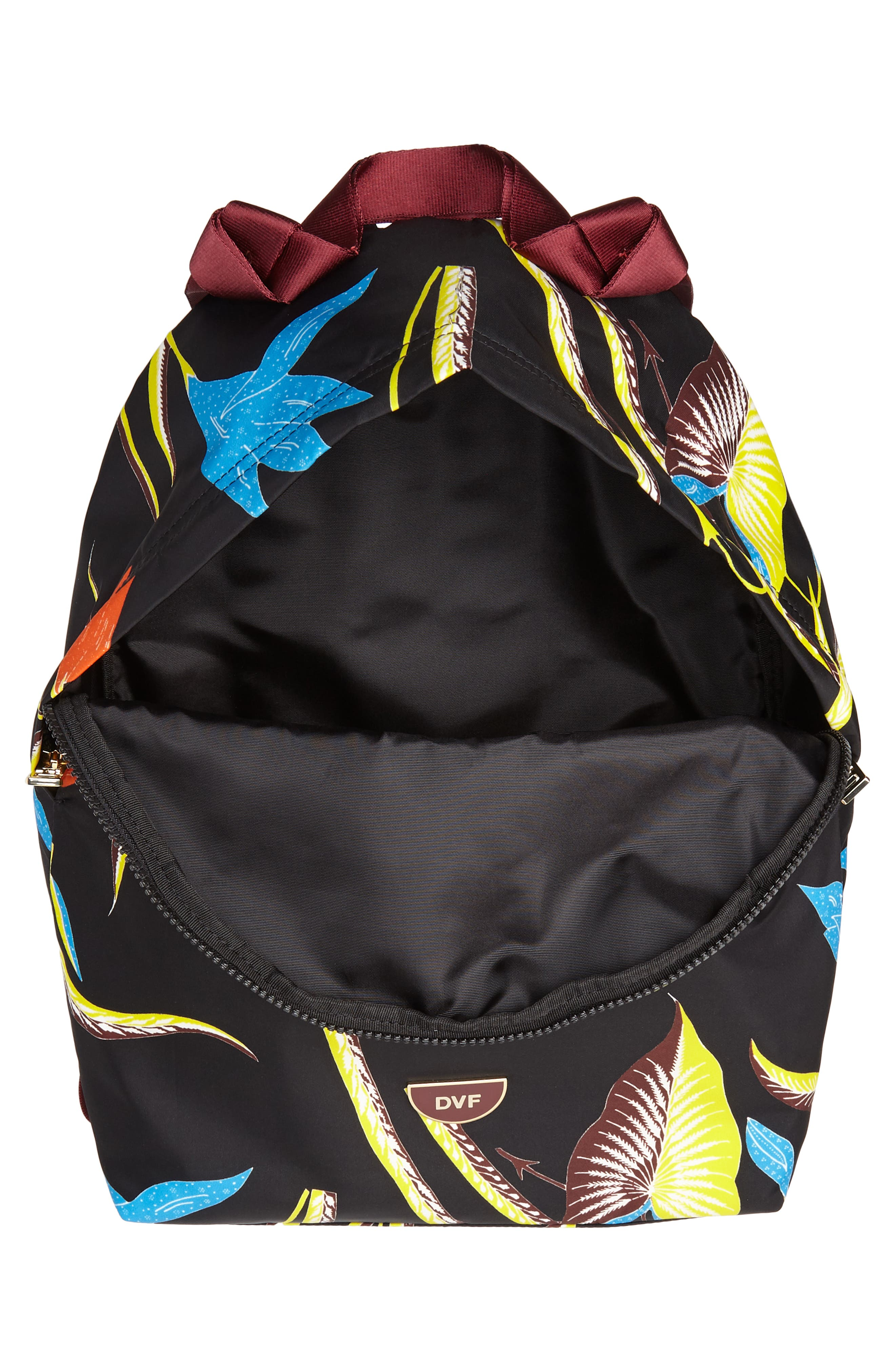 DVF Print Nylon Backpack,                             Alternate thumbnail 4, color,                             OSWALD BLACK