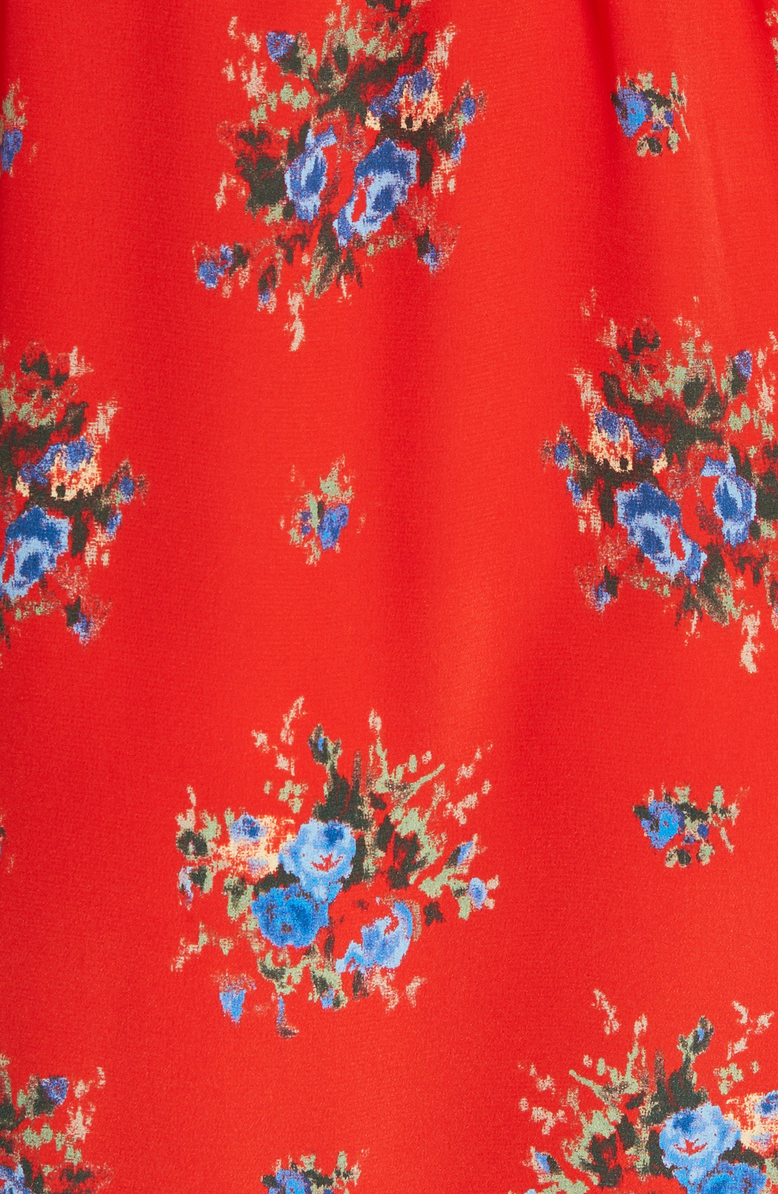 Floral Silk Wrap Dress,                             Alternate thumbnail 5, color,                             FIERY RED