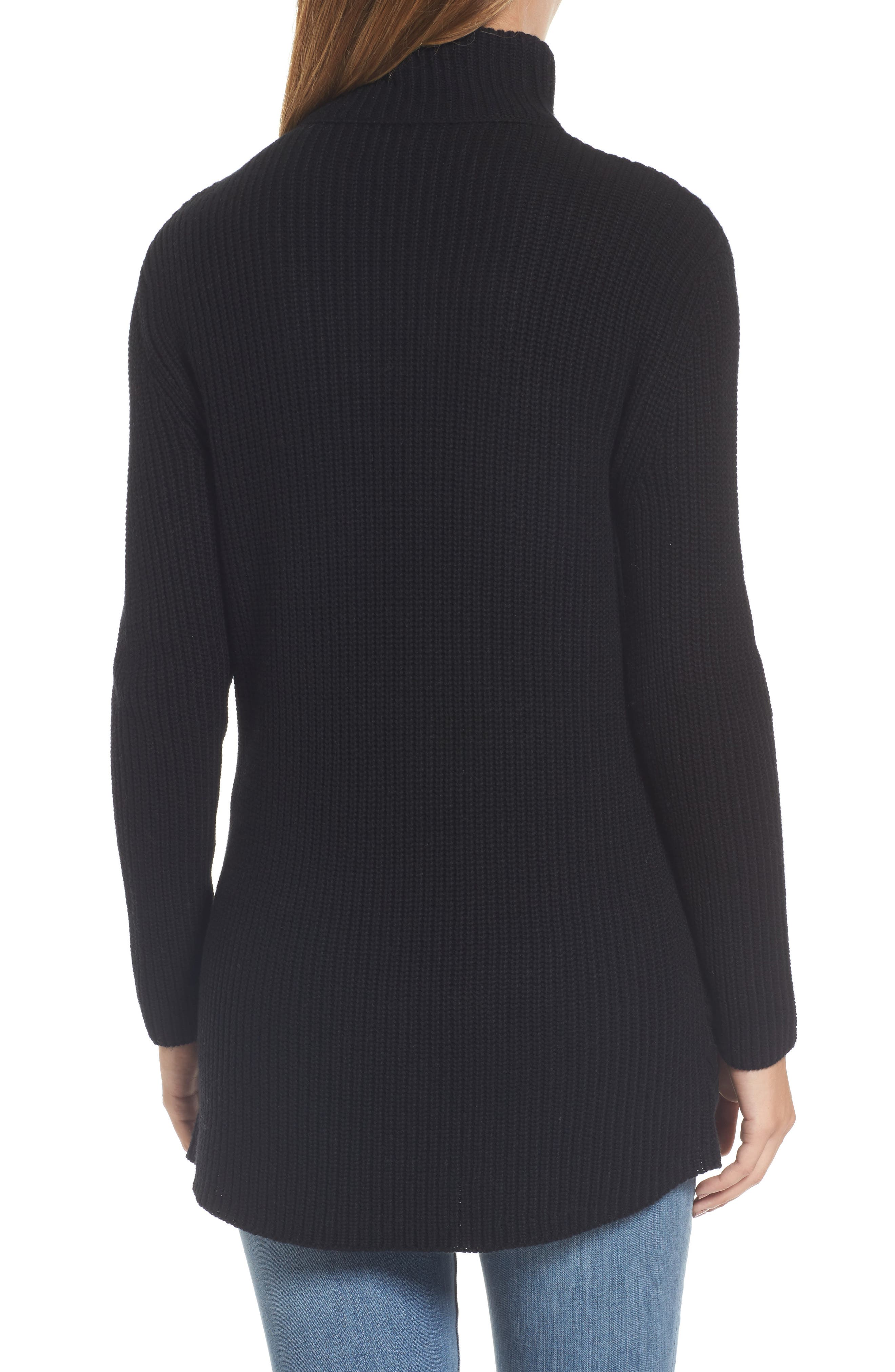 Lace-Up Side Tunic Sweater,                             Alternate thumbnail 2, color,                             001