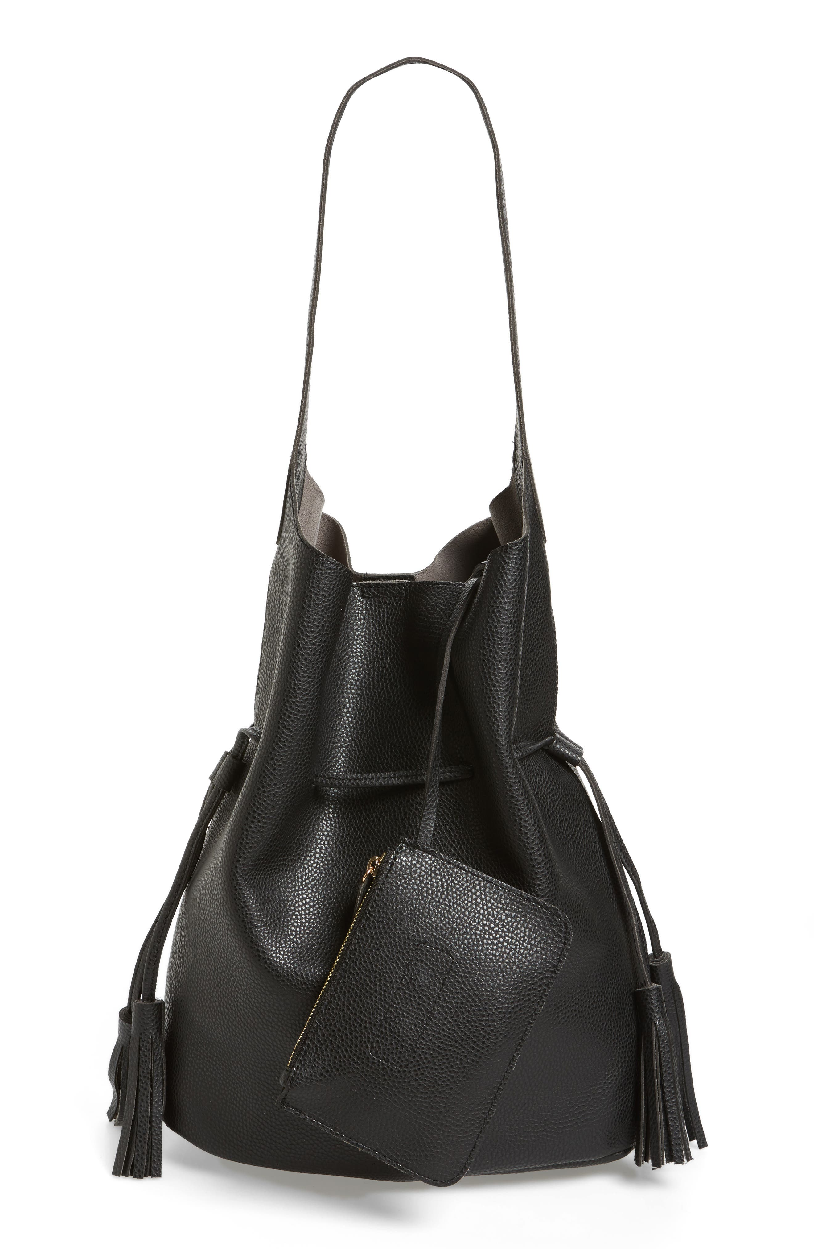 Drawstring Faux Leather Bucket Bag,                             Alternate thumbnail 3, color,                             001