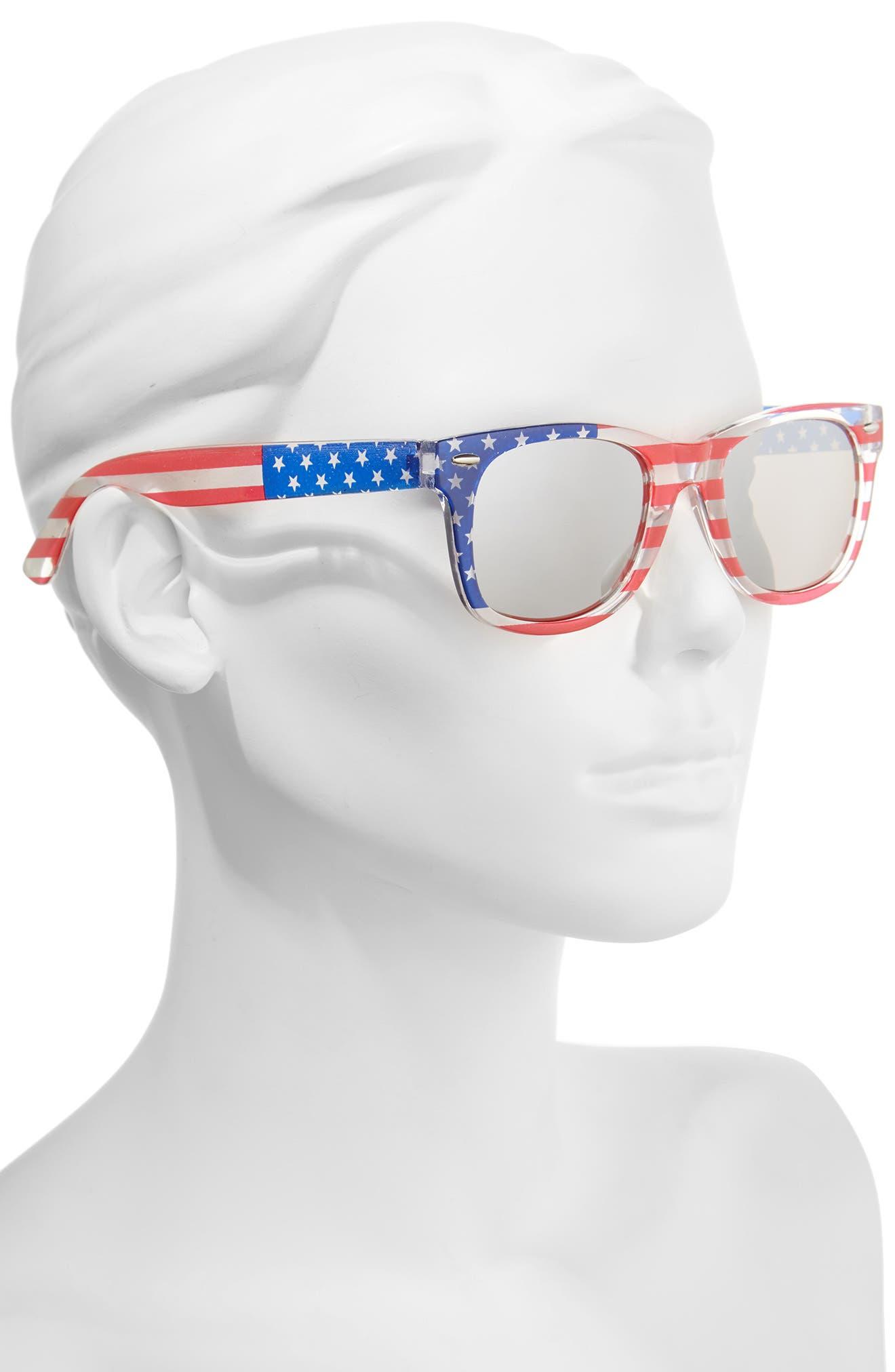 Americana 63mm Stars & Stripes Sunglasses,                             Alternate thumbnail 2, color,                             400