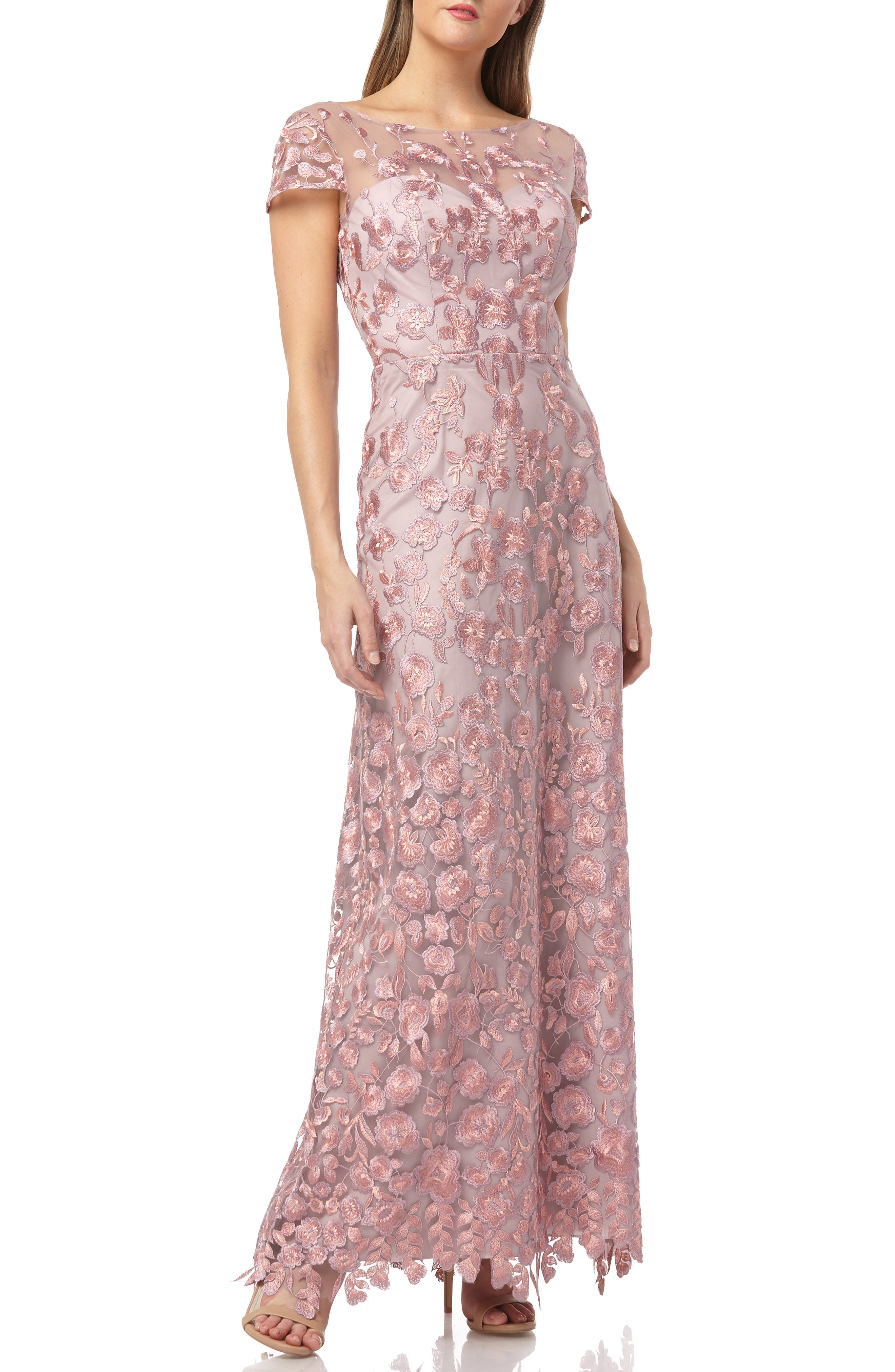 Js Collections Embroidered Lace Gown, Pink