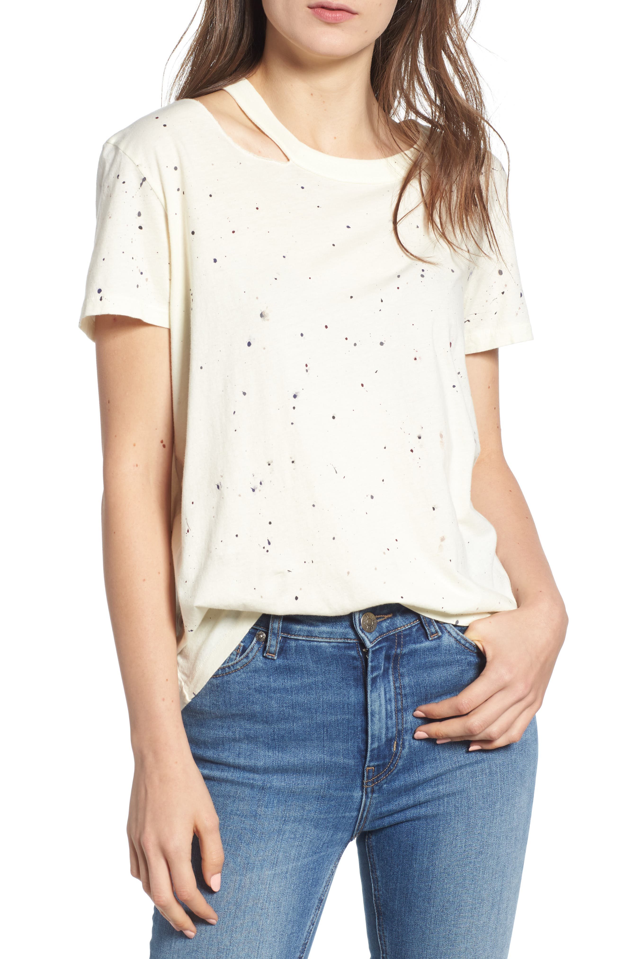 Zander Distressed Spatter Tee,                             Main thumbnail 1, color,                             CLOUD SPLATTER