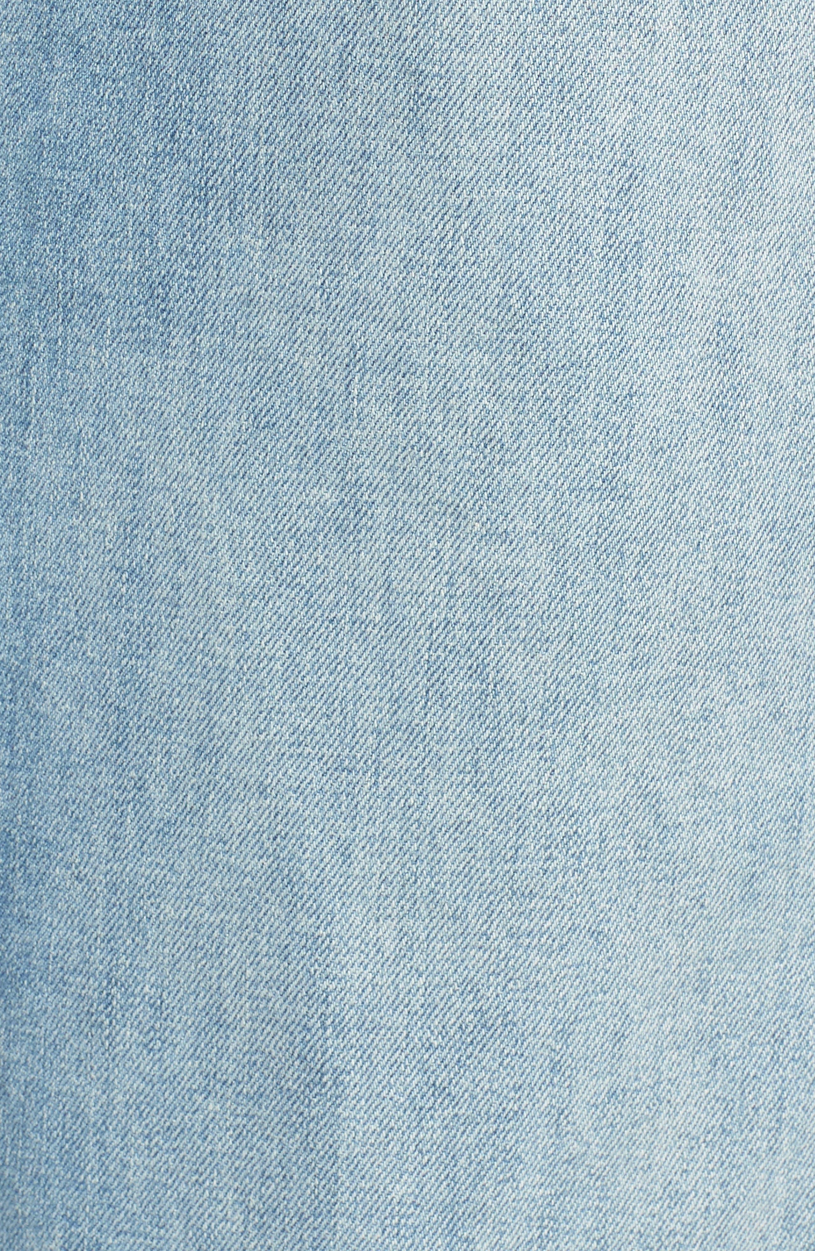 Swooner Straight-A Chewed Hem Denim Skirt,                             Alternate thumbnail 6, color,                             450