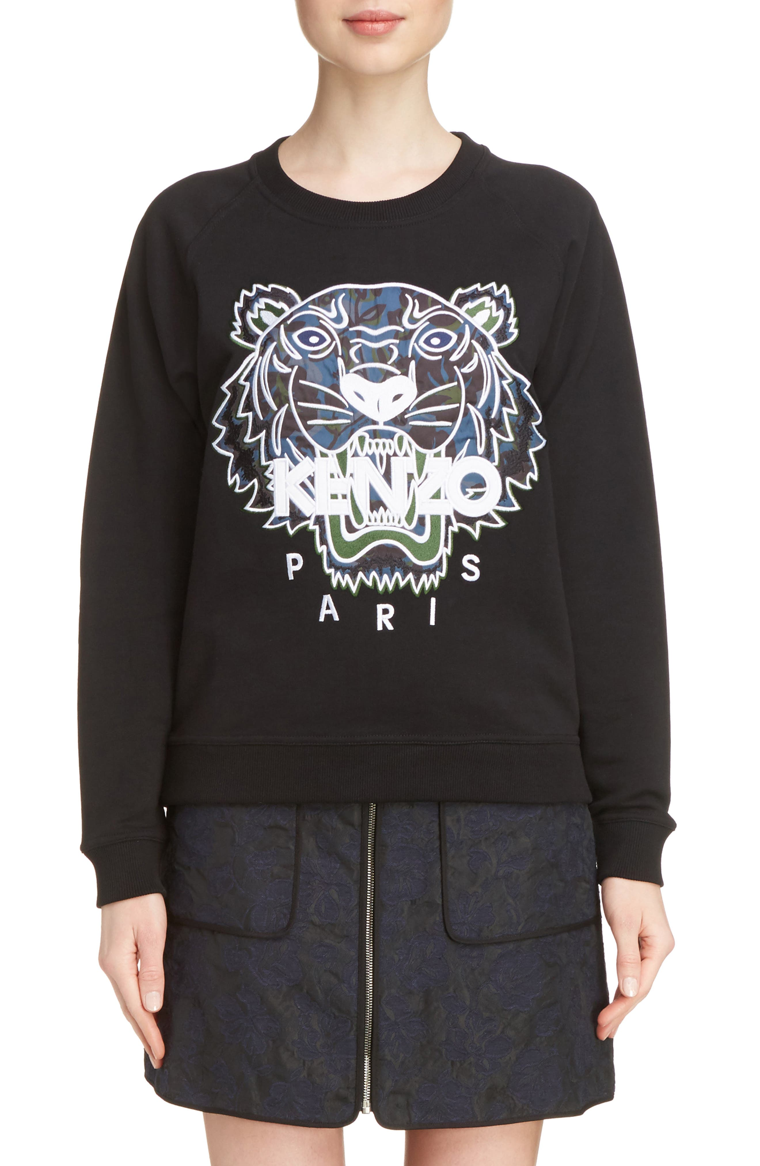 Floral Leaf Tiger Sweatshirt,                             Main thumbnail 1, color,                             001