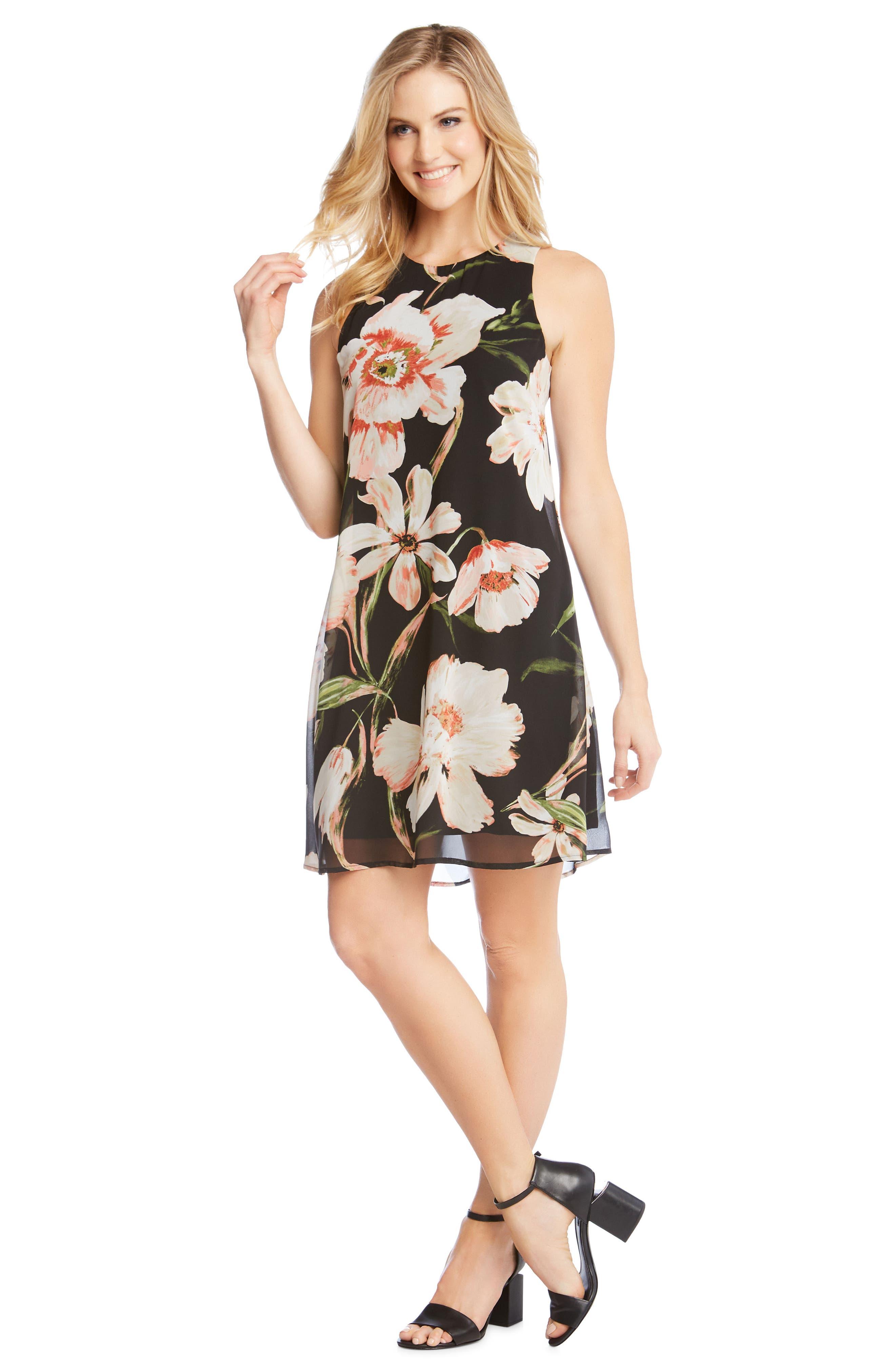 Sheer Floral Overlay Shift Dress,                             Alternate thumbnail 3, color,                             PRINT