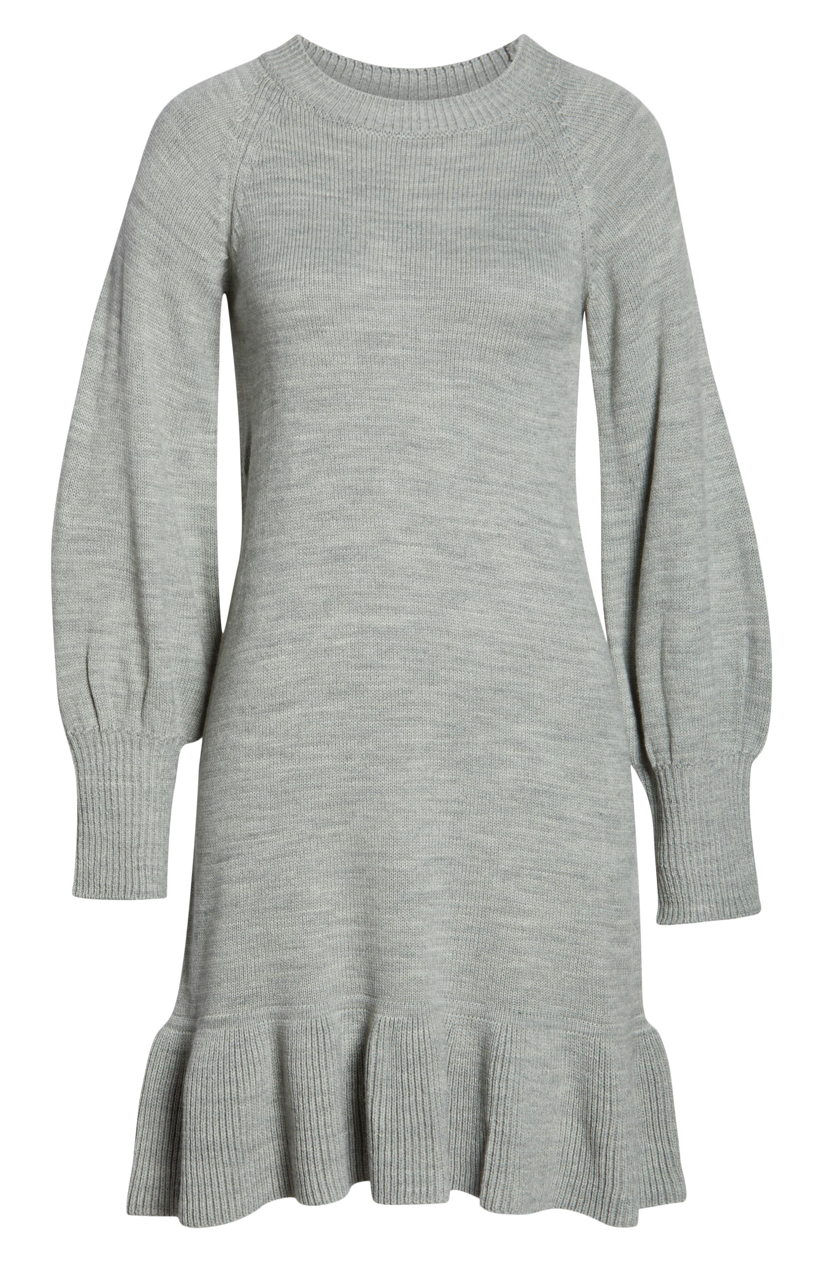 Balloon Sleeve Sweater Dress,                             Alternate thumbnail 7, color,                             GREY