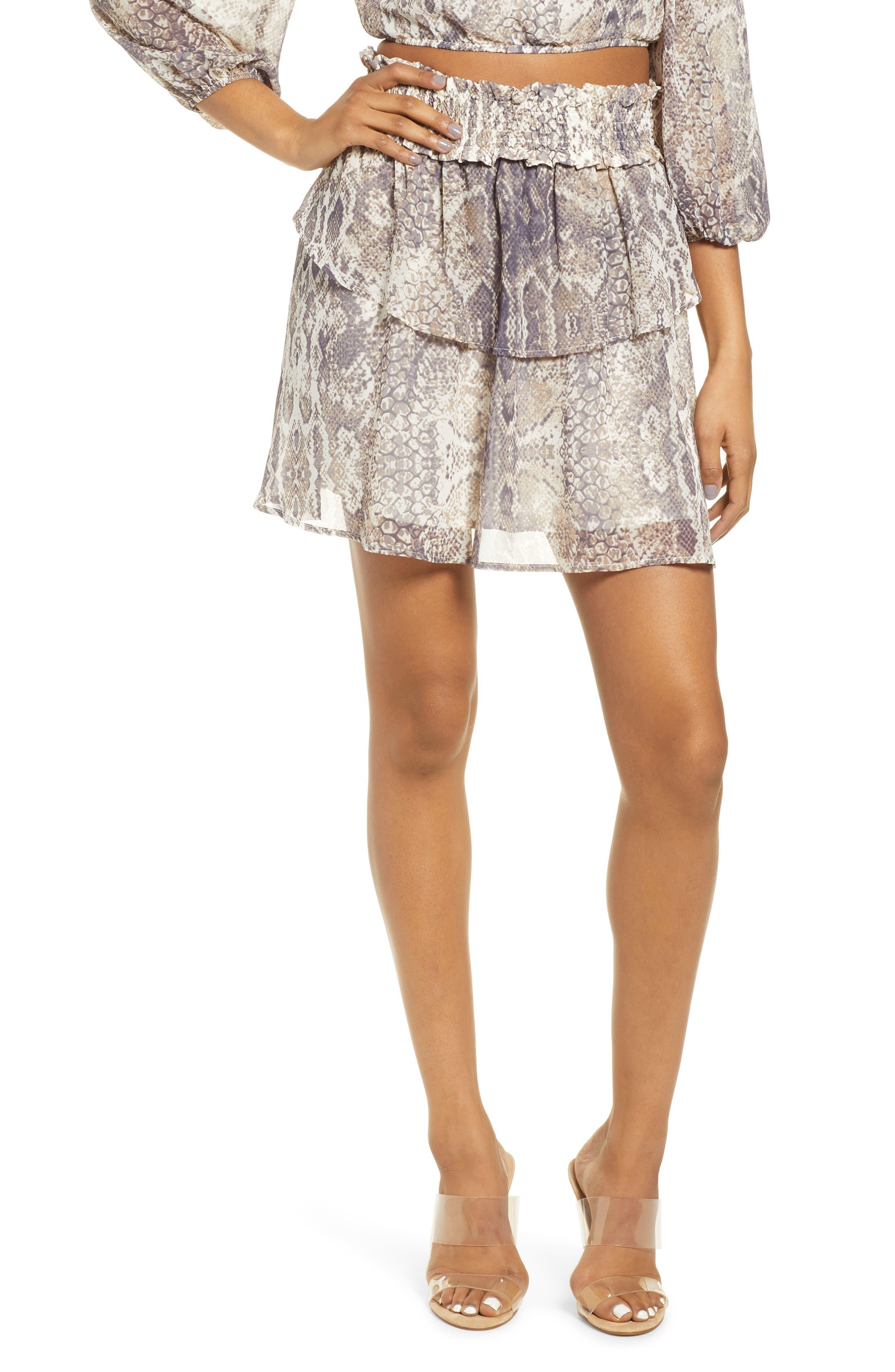 4Si3Nna Smocked Snakeskin Print Tiered Miniskirt, Beige