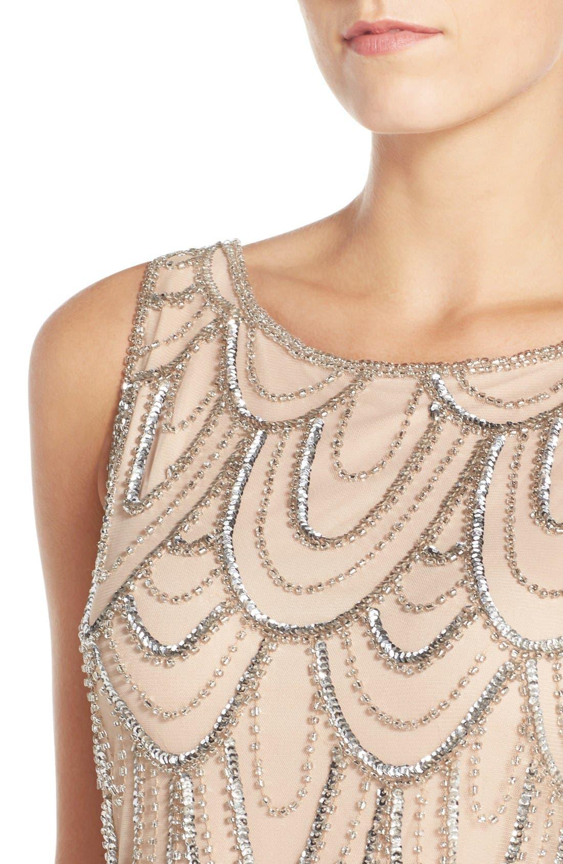Embellished Mesh Sheath Dress,                             Alternate thumbnail 90, color,