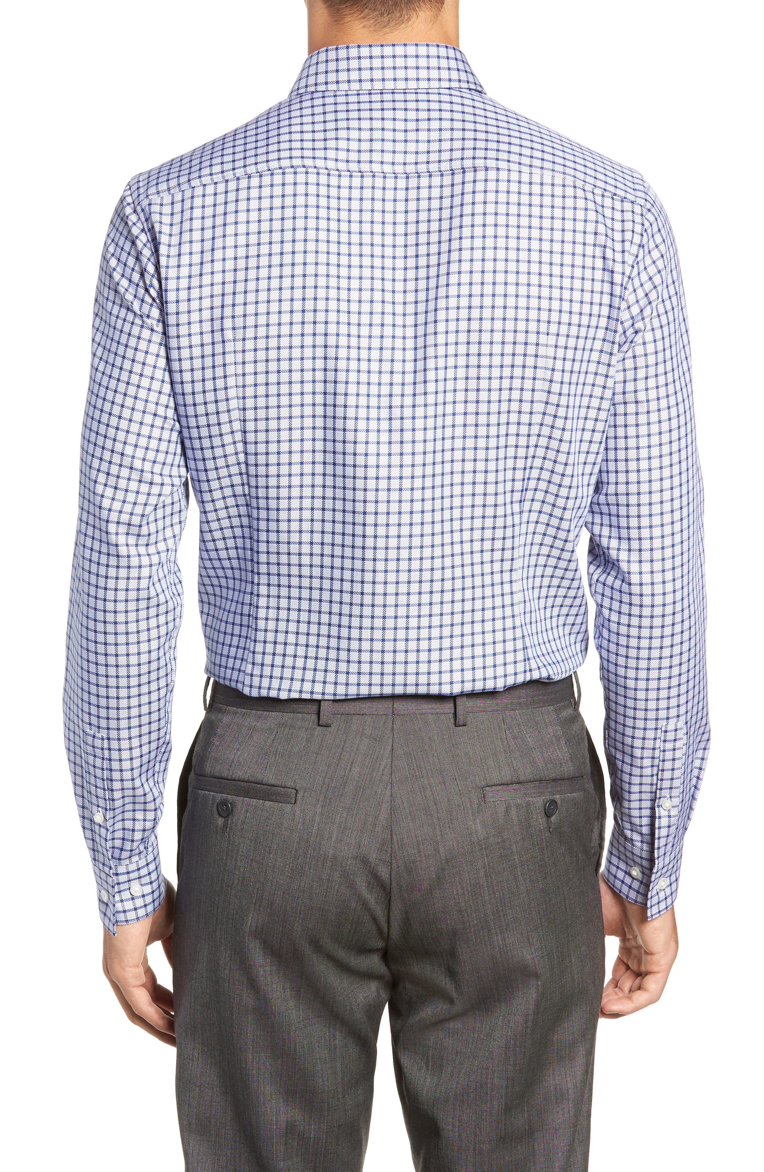 x Nordstrom Isaac Slim Fit Check Dress Shirt,                             Alternate thumbnail 3, color,                             BLUE
