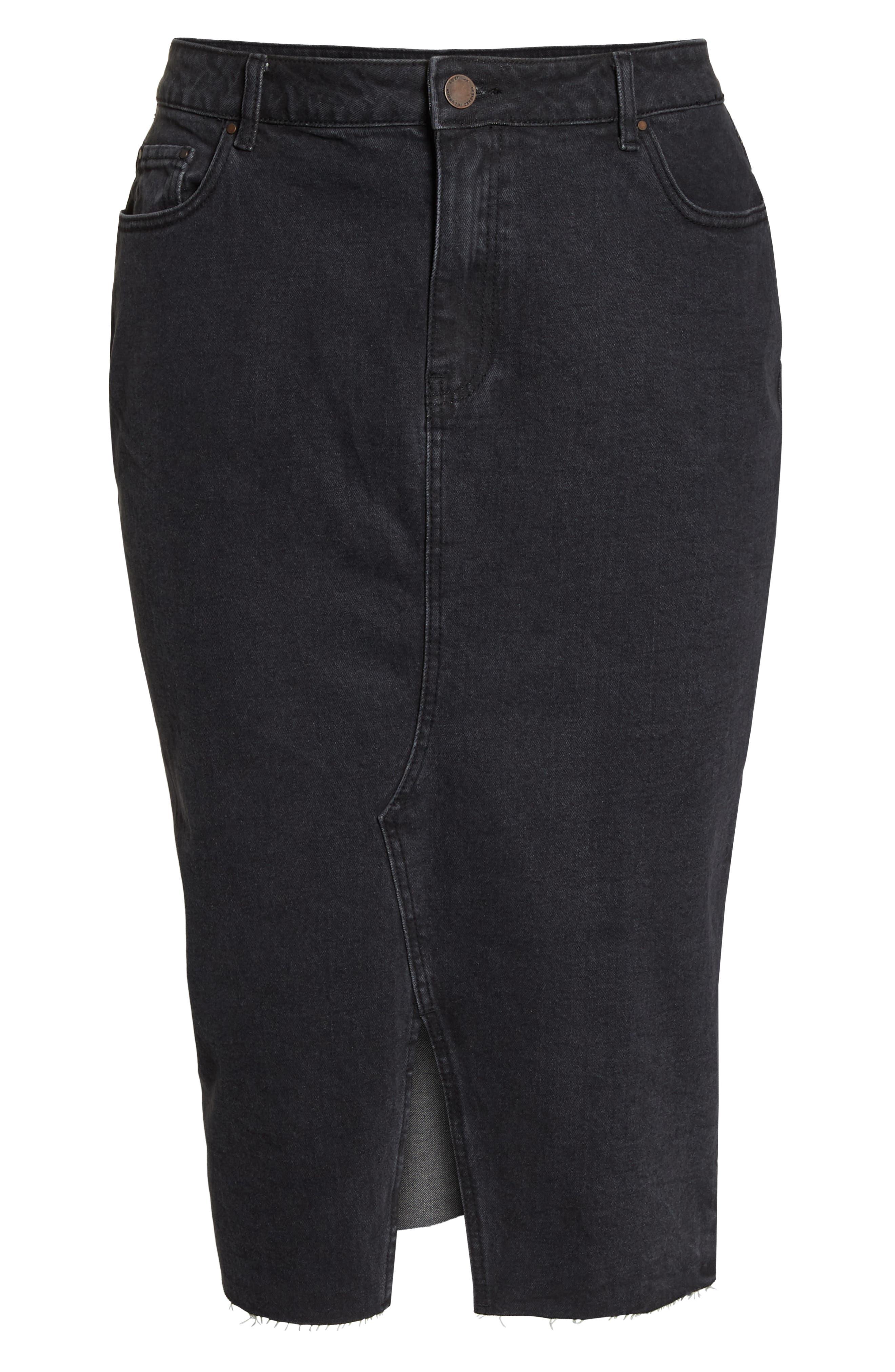 Denim Pencil Skirt,                             Alternate thumbnail 7, color,                             001