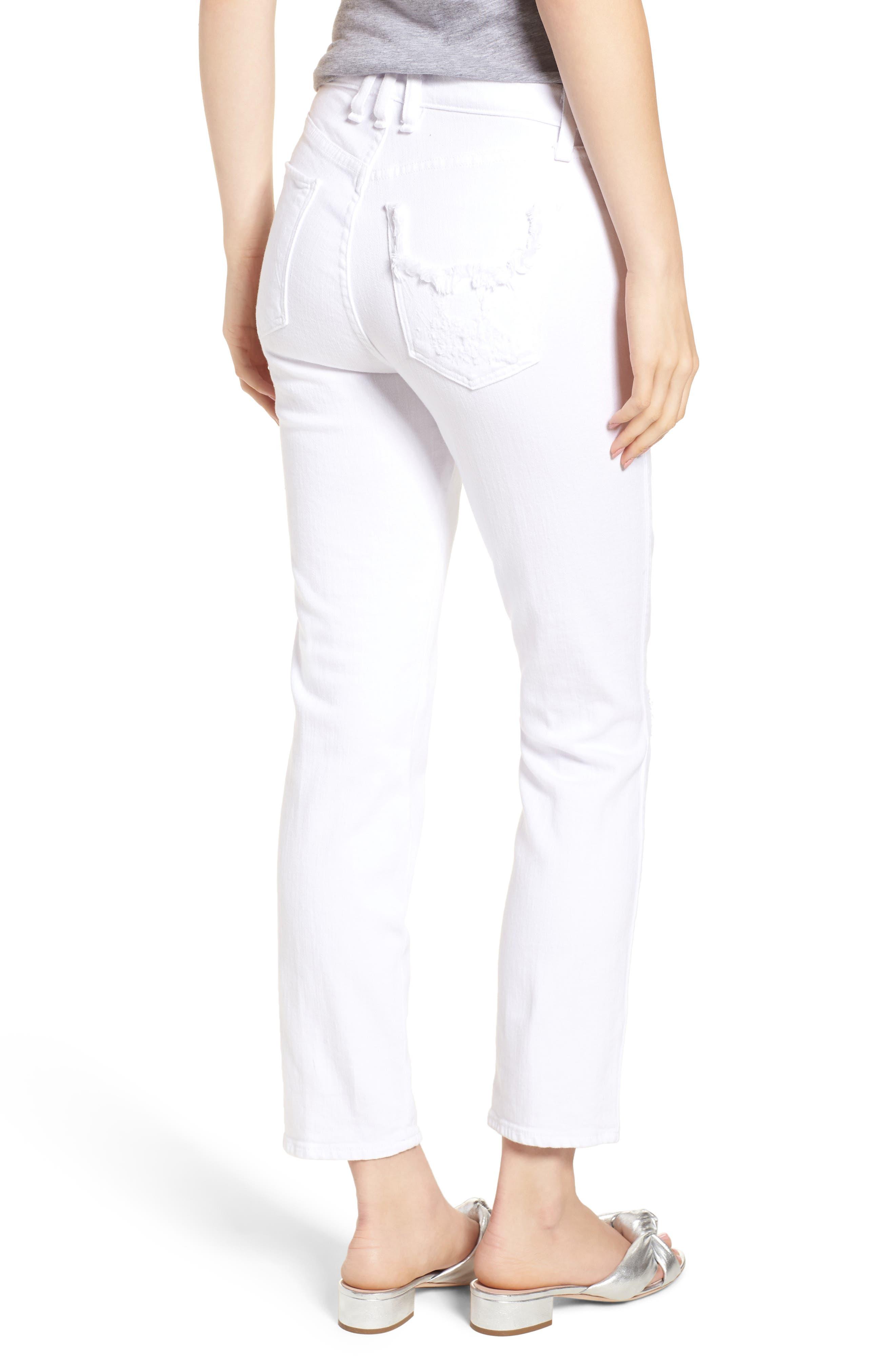 Kaia Distressed High Waist Slim Jeans,                             Alternate thumbnail 2, color,                             100