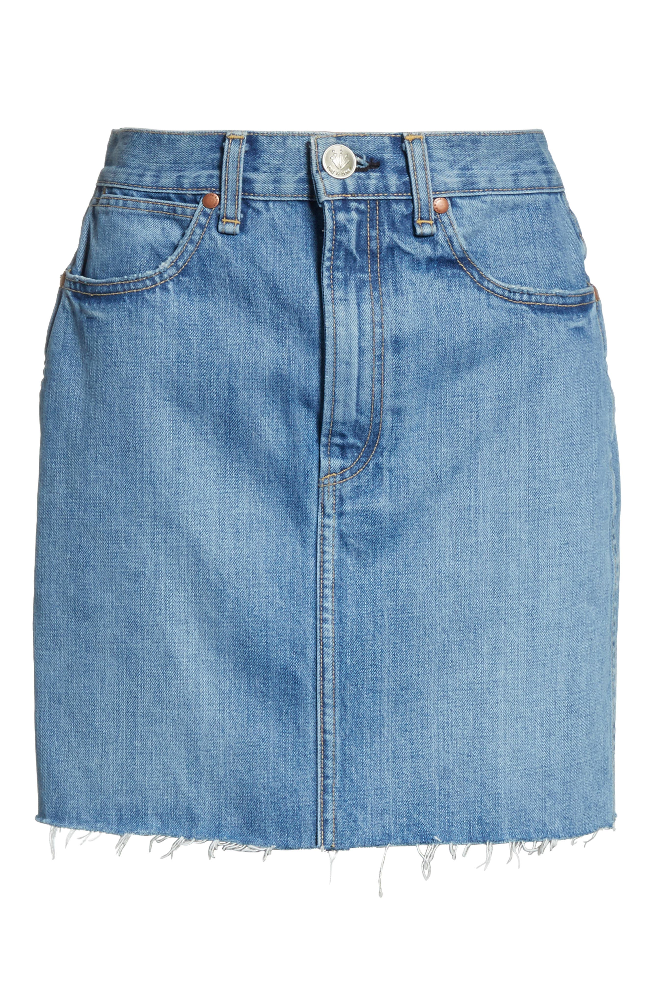 Moss High Waist Denim Miniskirt,                             Alternate thumbnail 6, color,                             420