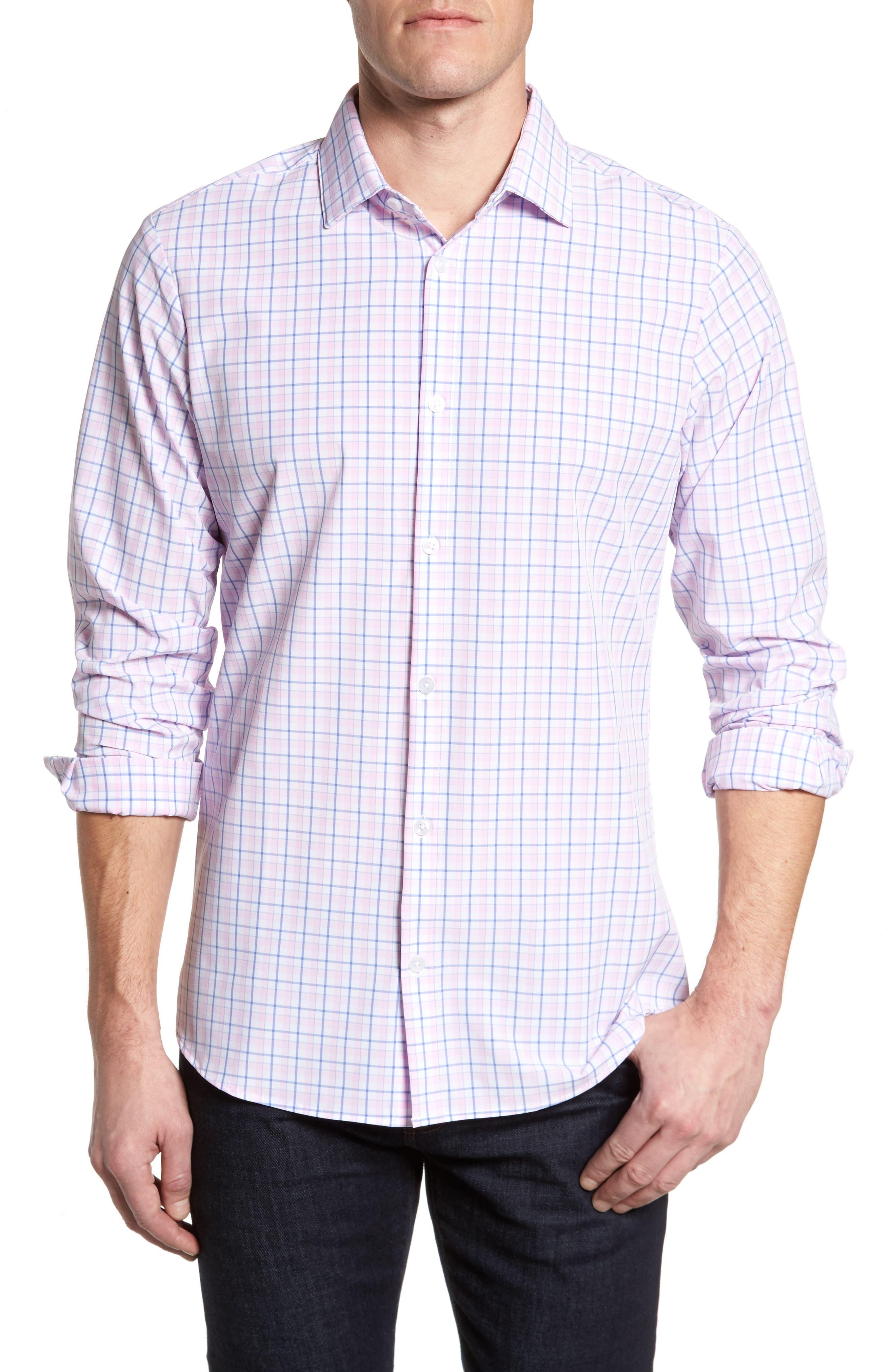 Wailea Plaid Sport Shirt,                         Main,                         color, PINK