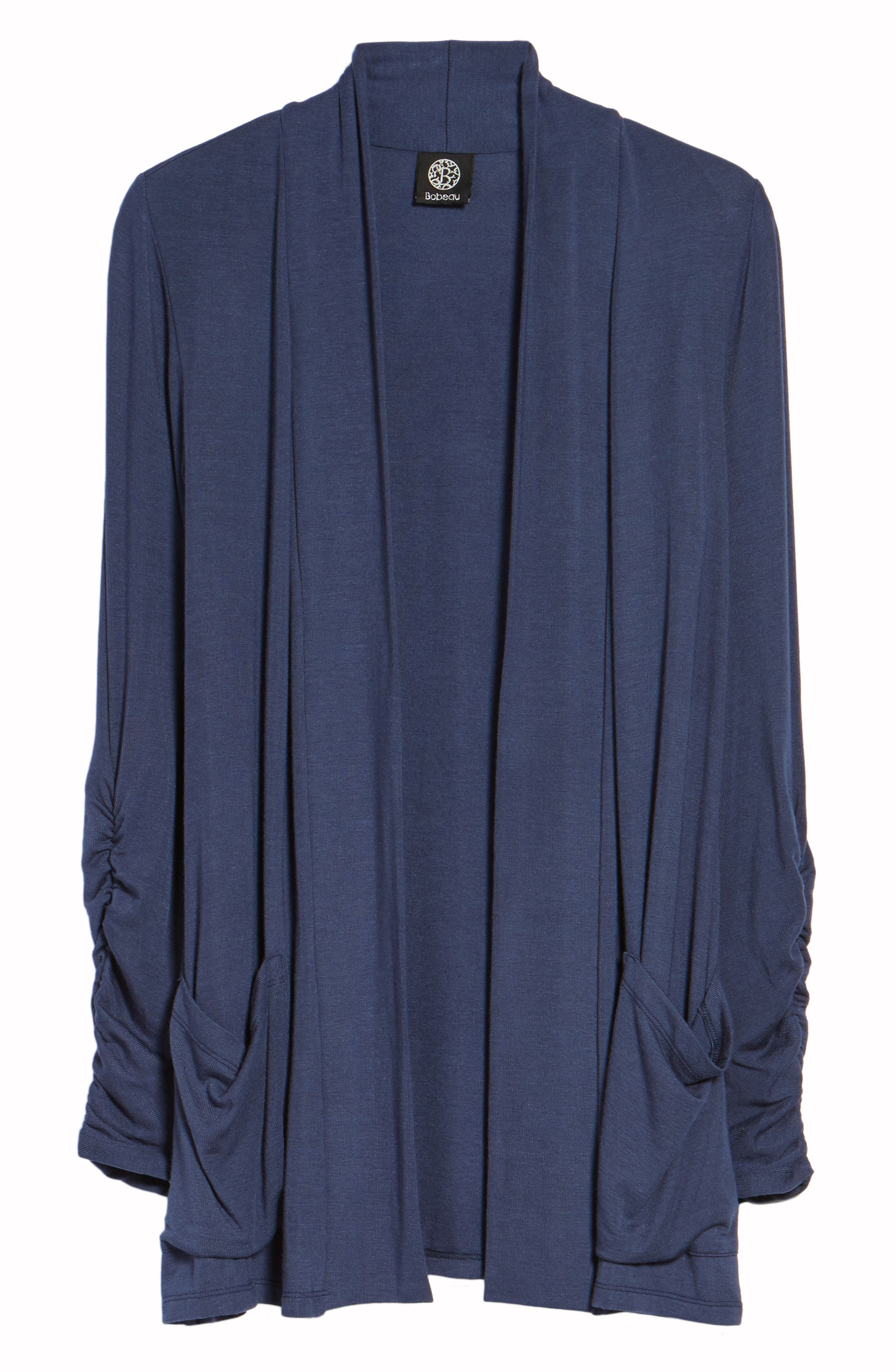 Ruched Sleeve Cardigan,                             Alternate thumbnail 7, color,                             NAVY