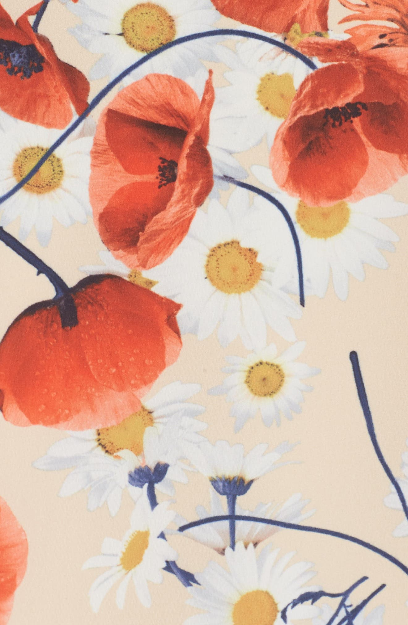 Lola Printed Poplin Dress,                             Alternate thumbnail 5, color,                             CORAL FLORAL