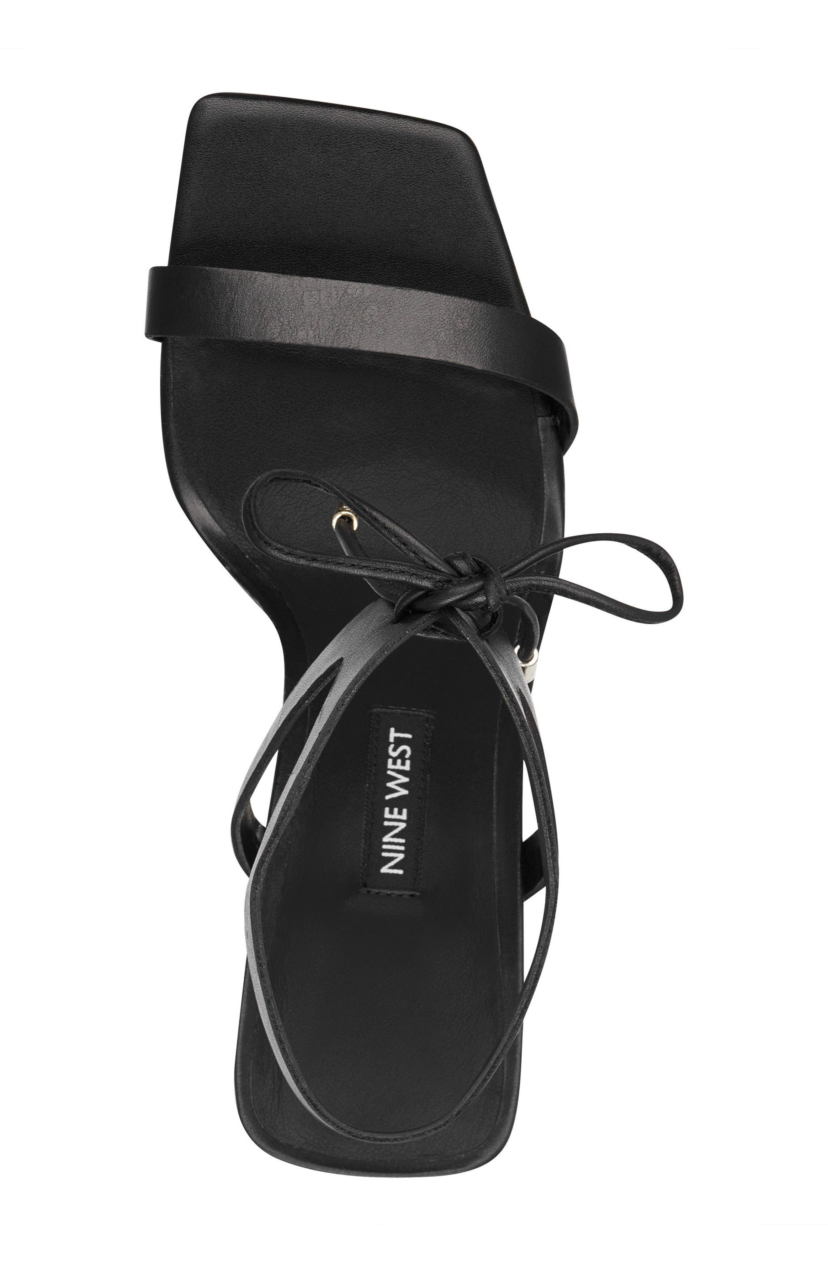 Longitano Squared Toe Sandal,                             Alternate thumbnail 5, color,                             BLACK LEATHER