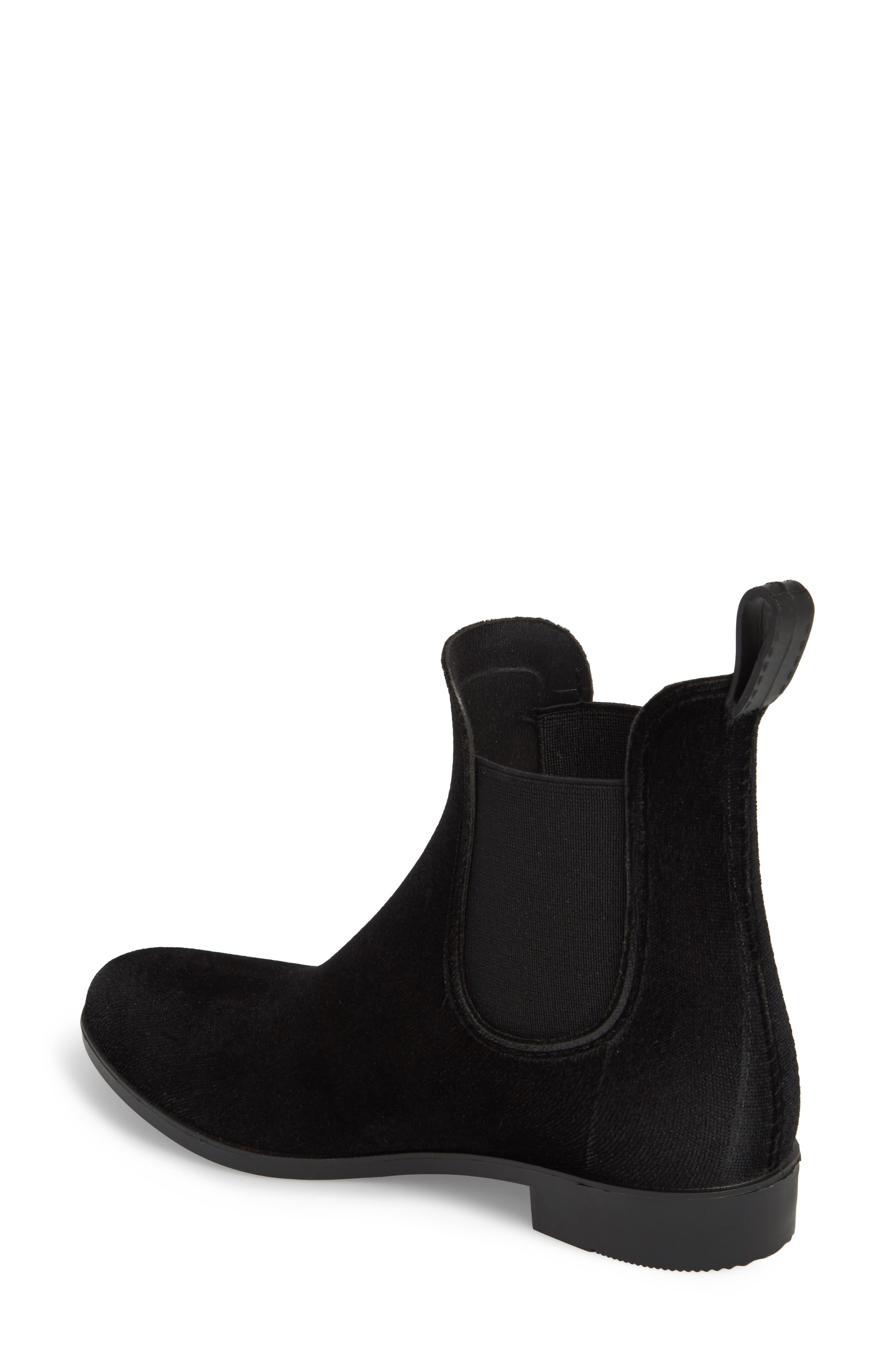 Waterproof Velvet Chelsea Rain Boot,                             Alternate thumbnail 2, color,                             BLACK