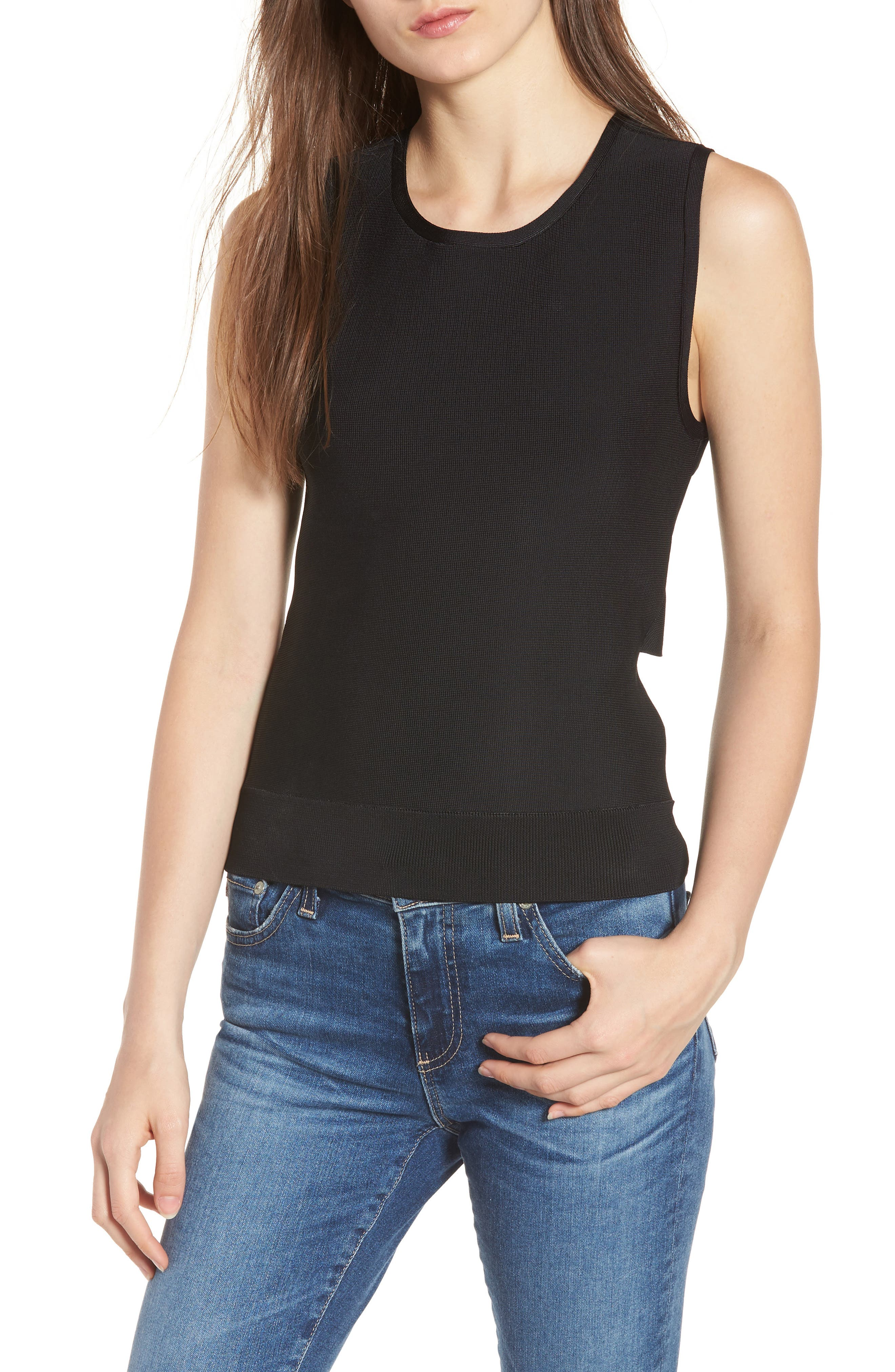 Twist Back Sweater Shell,                         Main,                         color, 001