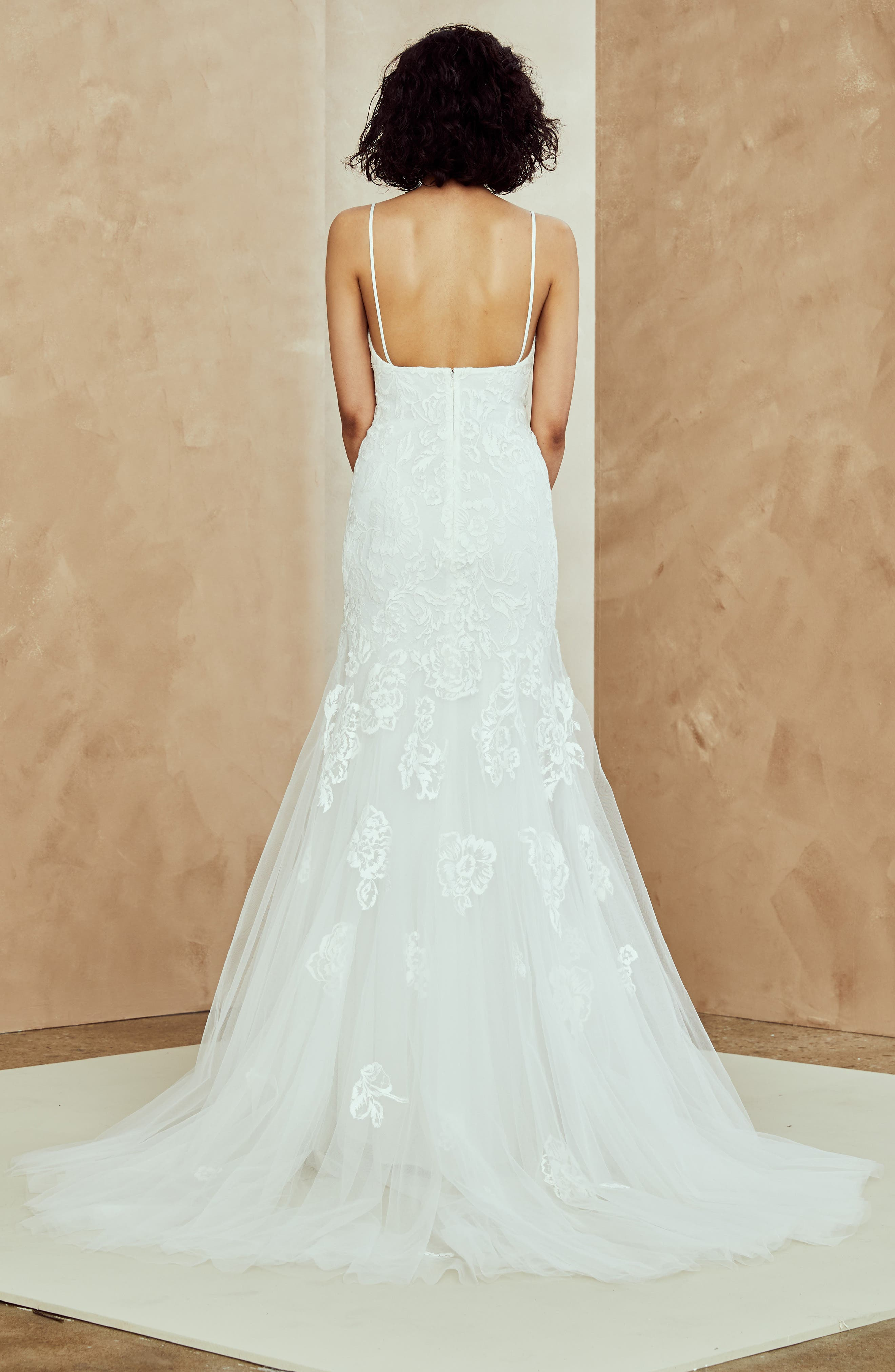 Abbey Embroidered Tulle Trumpet Gown,                             Alternate thumbnail 2, color,                             IVORY