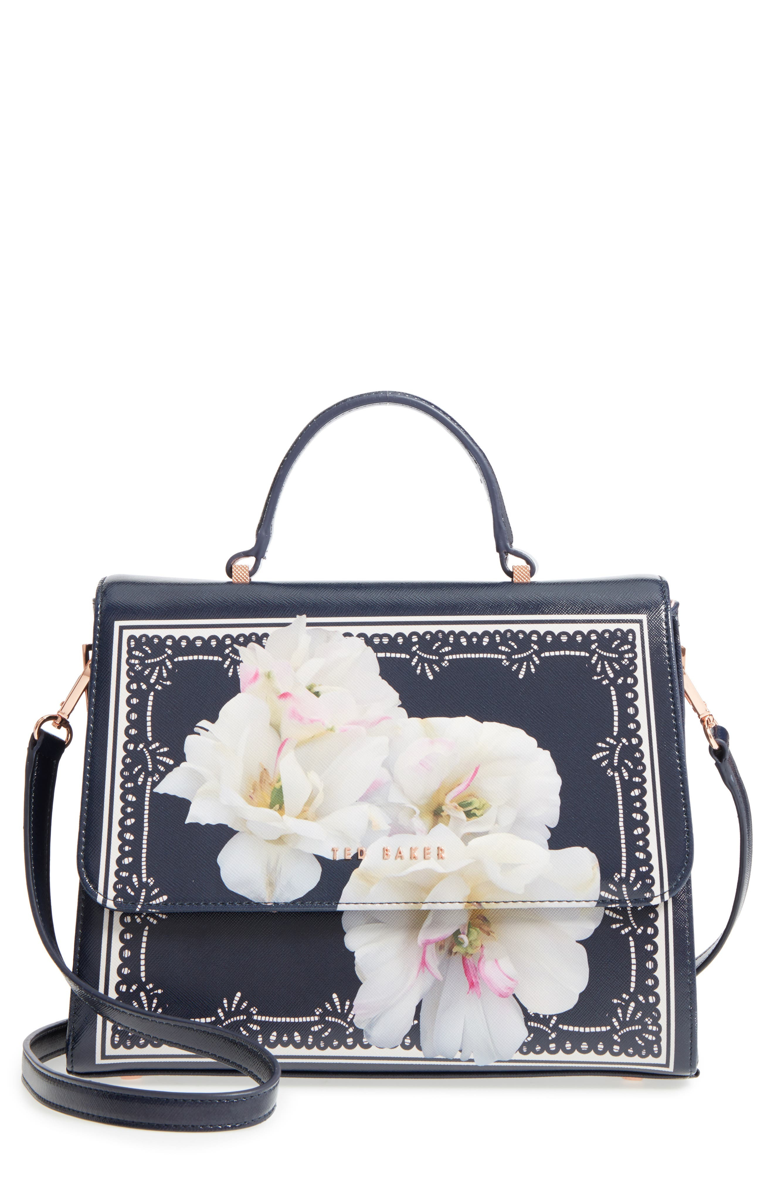 Gardenia Faux Leather Satchel,                         Main,                         color, 402