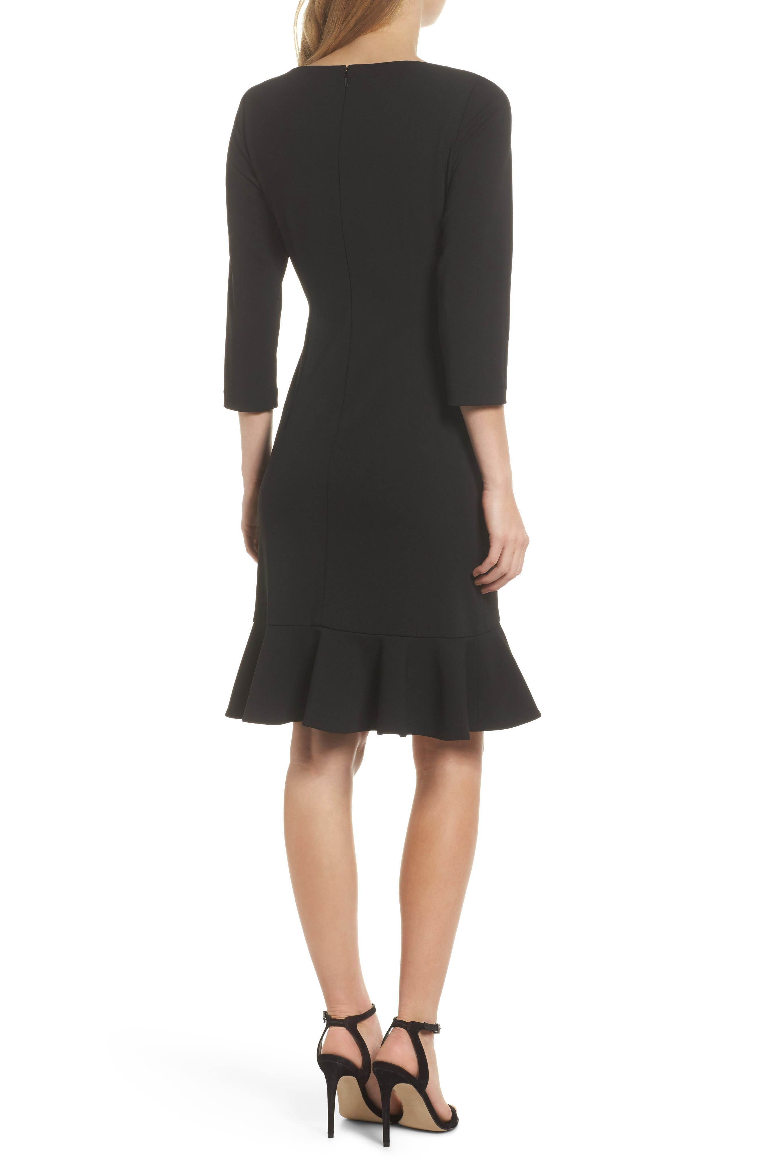 Crepe Ruffle Hem Body-Con Dress,                             Alternate thumbnail 3, color,