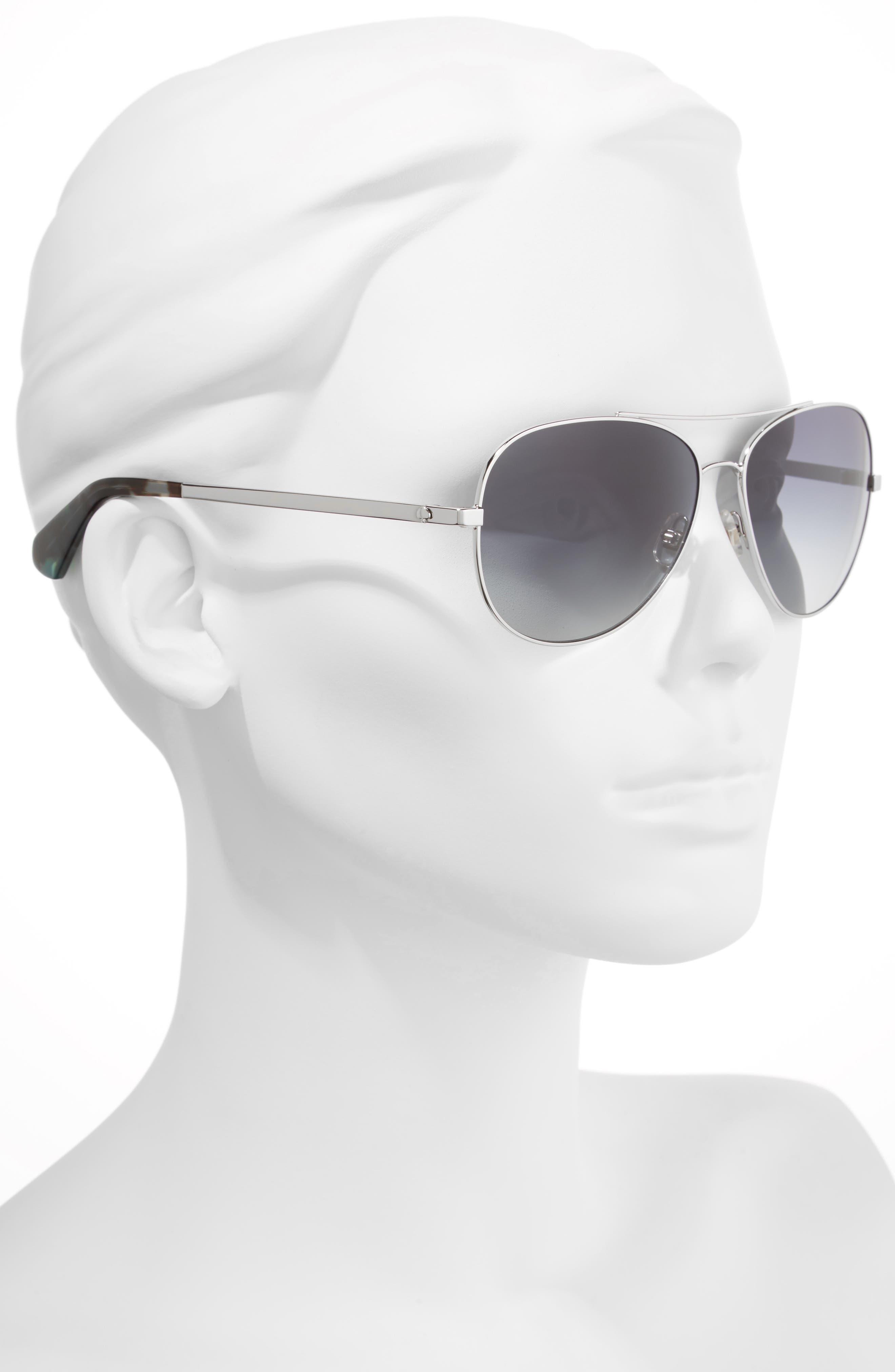 avaline 58mm aviator sunglasses,                             Alternate thumbnail 2, color,                             PALLADIUM