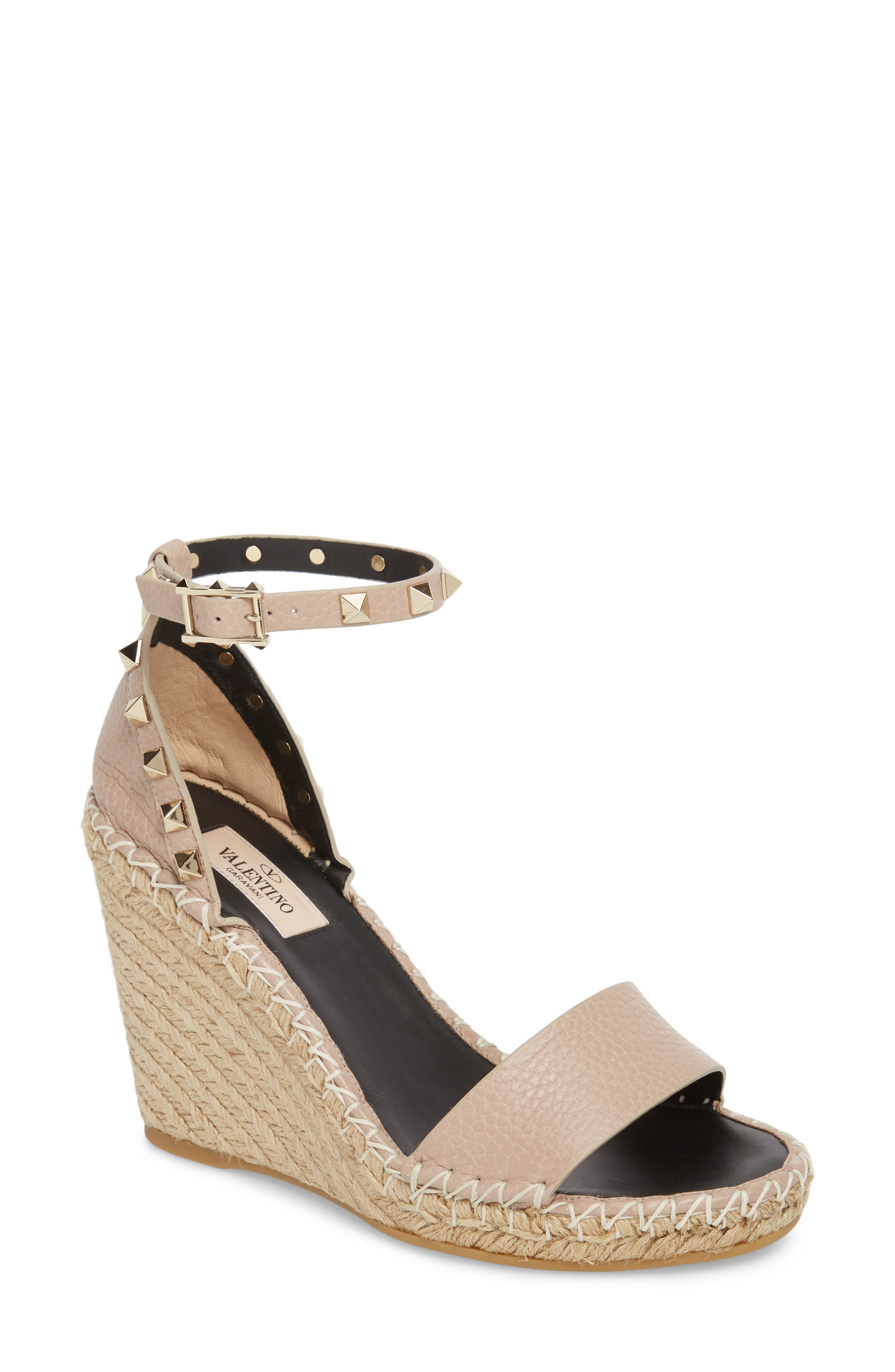 Rockstud Double Espadrille Wedge Sandals in Poudre