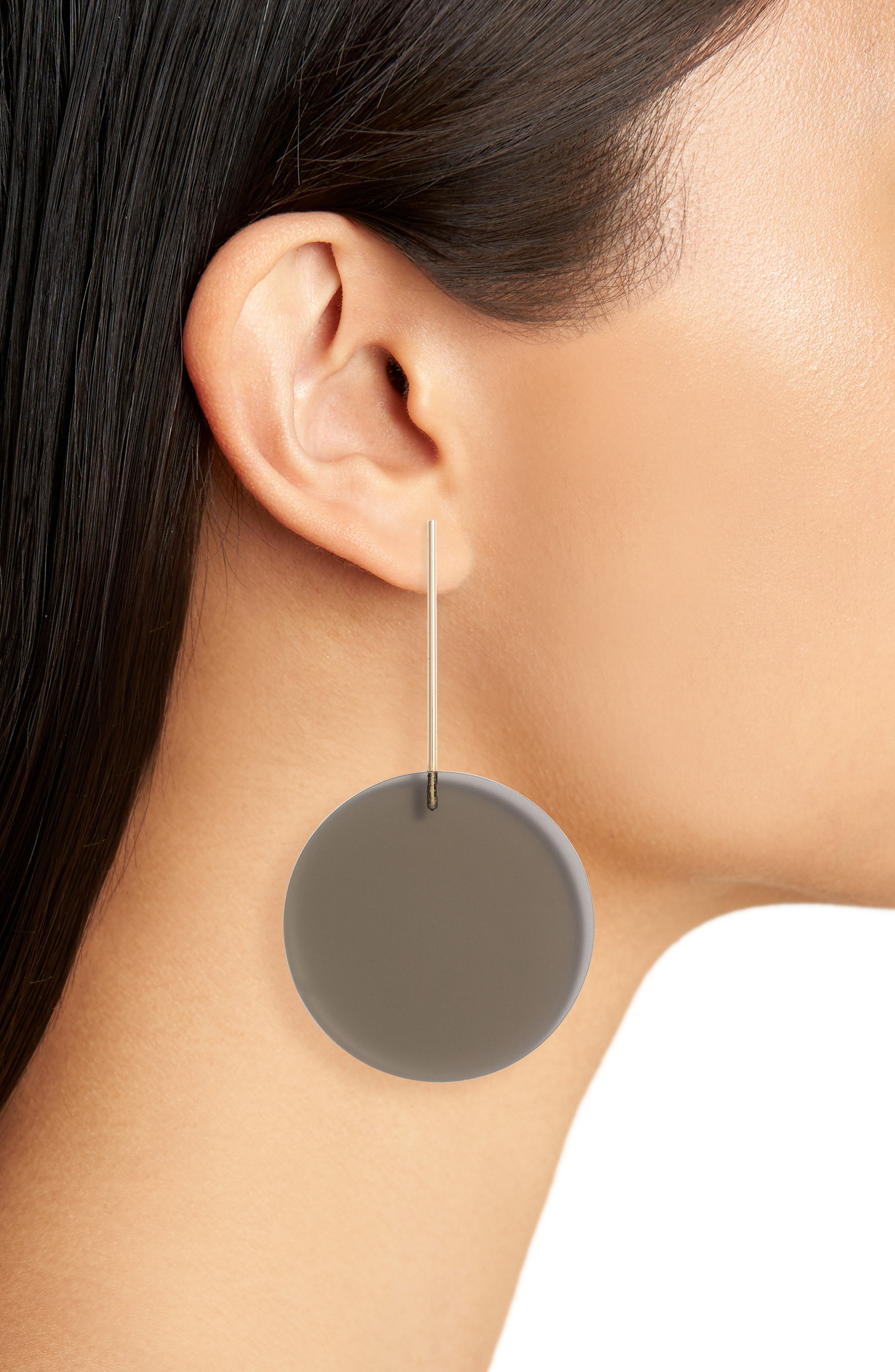 Translucent Disc Earrings,                             Alternate thumbnail 2, color,                             GOLD/ BLACK DIAMOND