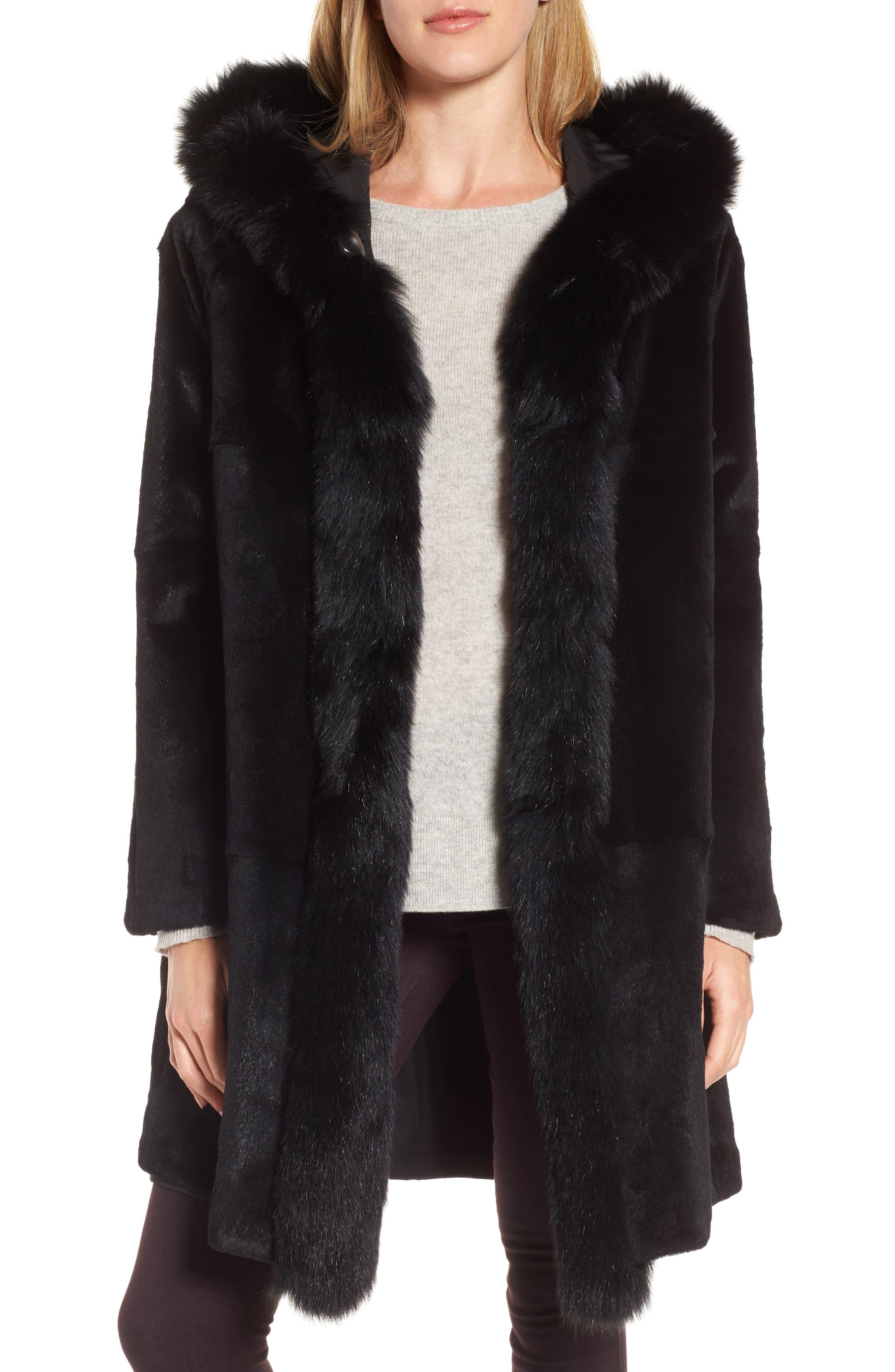 Hooded Reversible Genuine Fur Coat,                             Alternate thumbnail 4, color,                             003