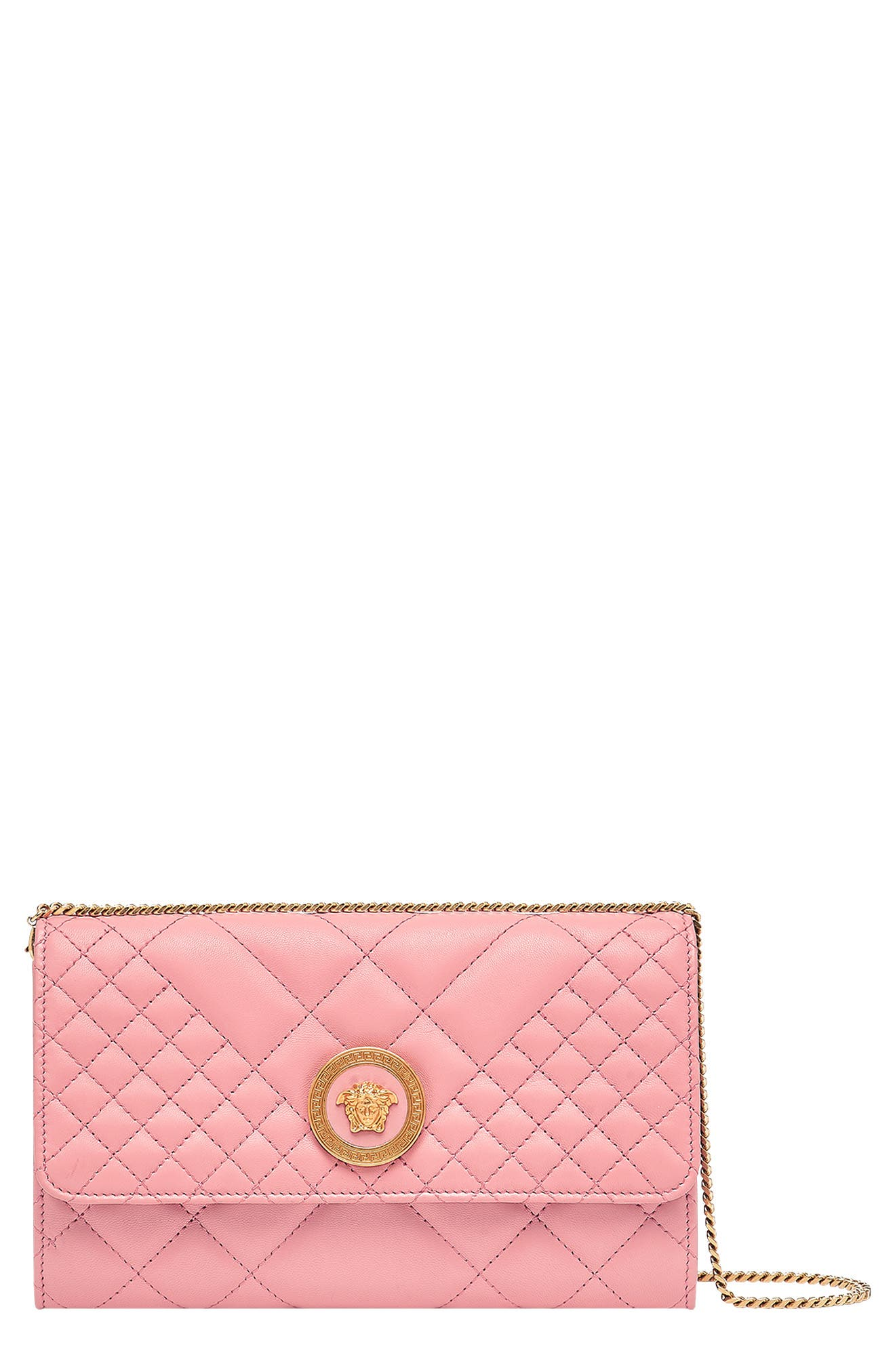 Quilted Leather Wallet on a Chain,                         Main,                         color, SHELL PINK/ TRIBUTE GOLD