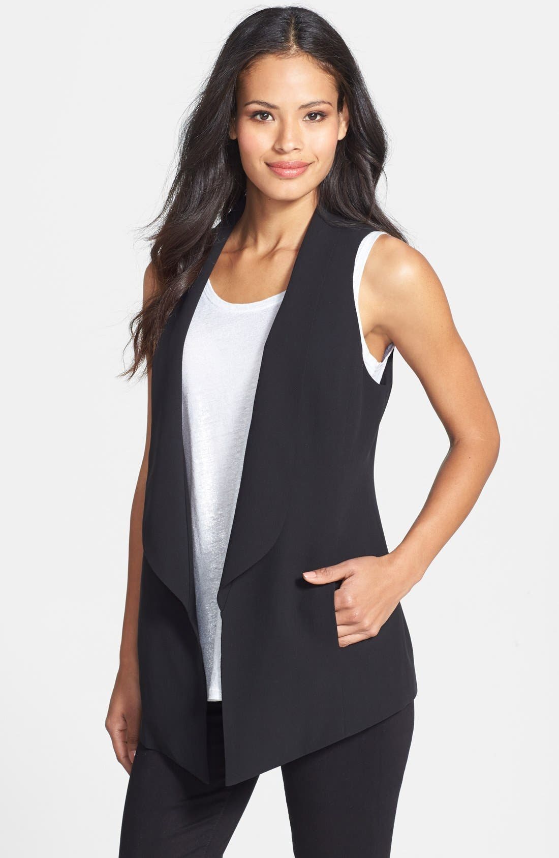 EILEEN FISHER,                             Shawl Collar Long Vest,                             Main thumbnail 1, color,                             001