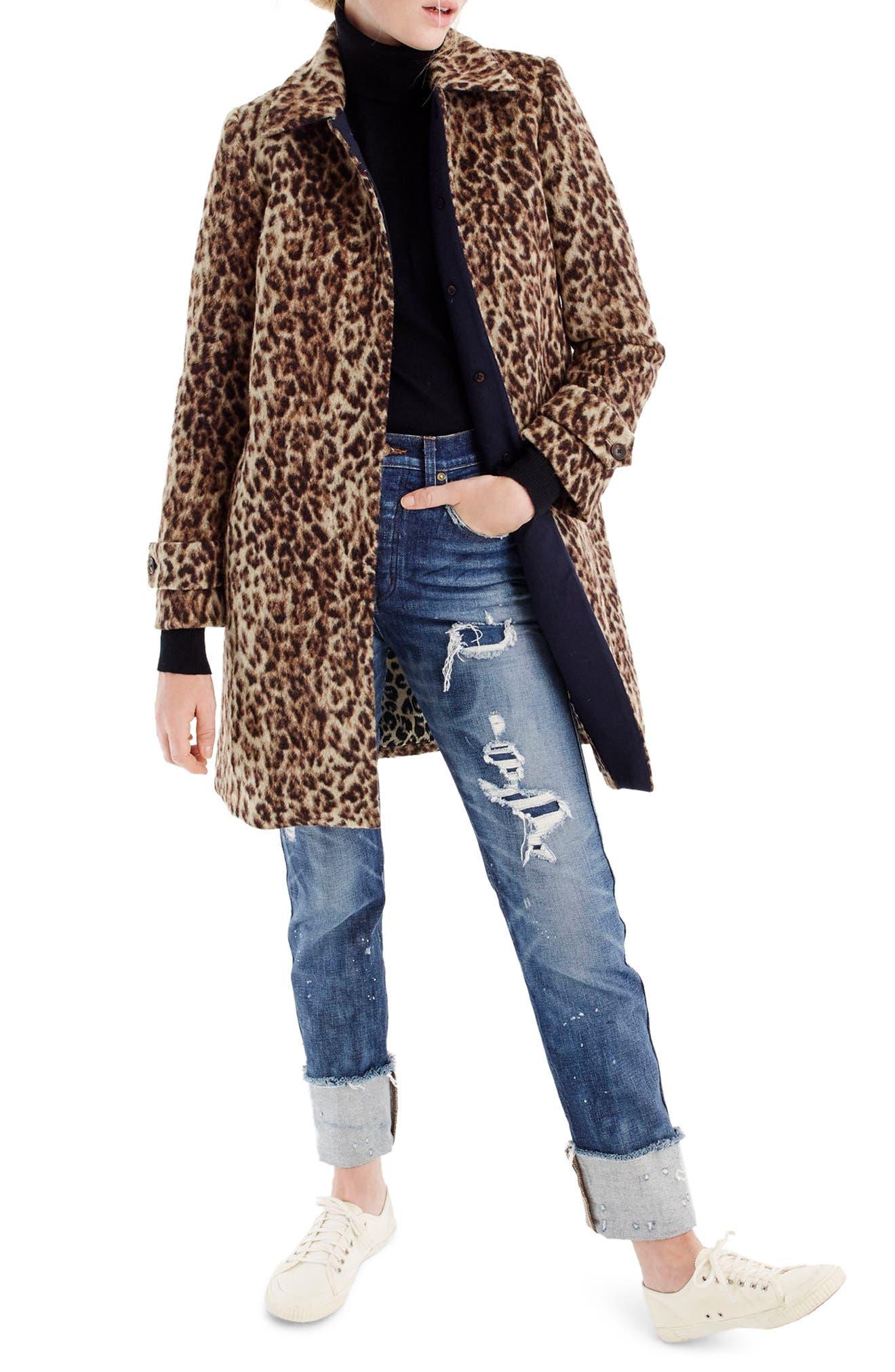 J.CREW,                             Double Leopard Topcoat,                             Main thumbnail 1, color,                             SNOW LEOPARD