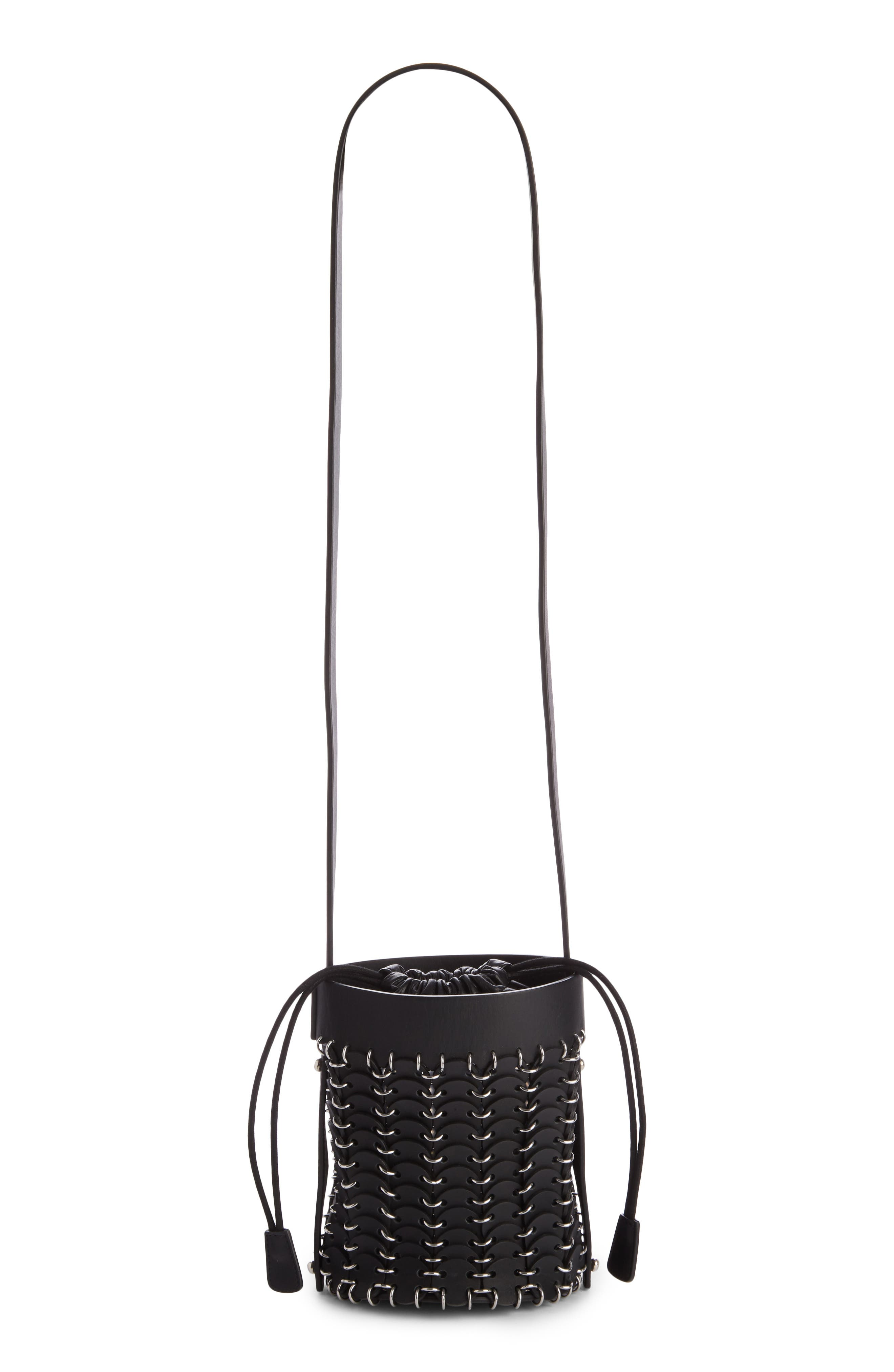 Mini Calfskin Bucket Bag,                             Alternate thumbnail 2, color,                             BLACK