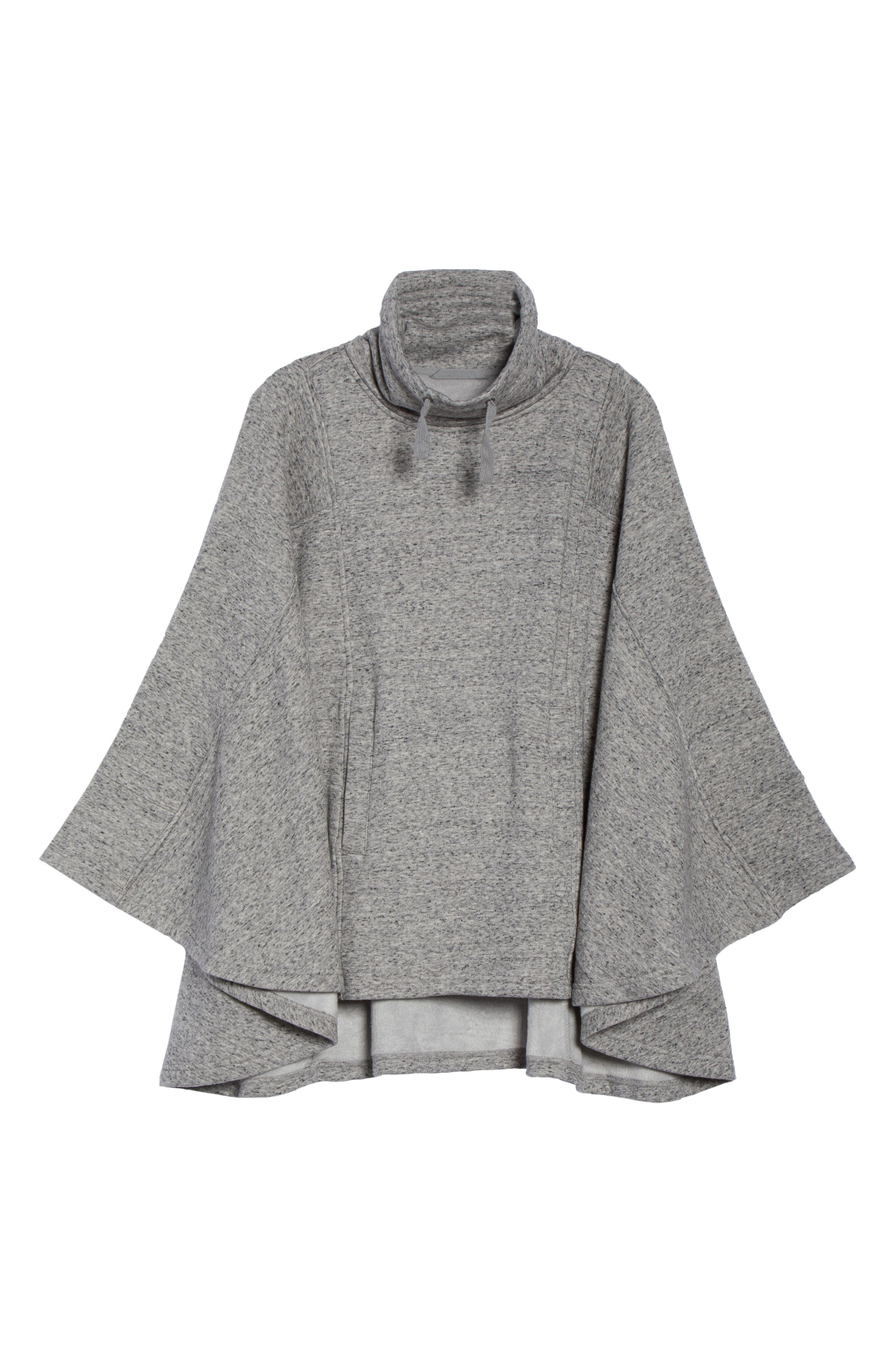 Pichot Turtleneck Poncho,                             Alternate thumbnail 6, color,                             GREY HEATHER