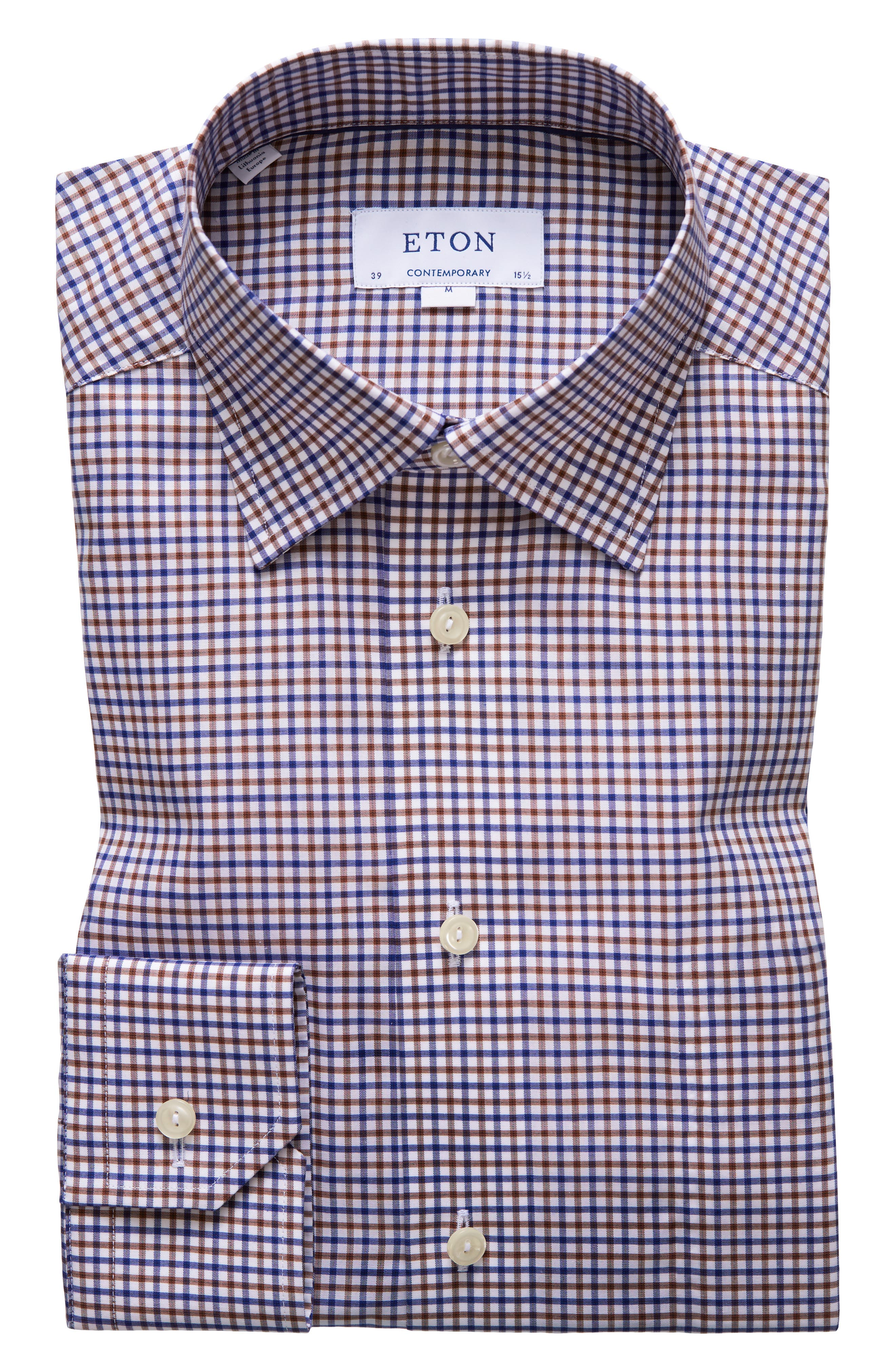Contemporary Fit Check Dress Shirt,                         Main,                         color, BROWN