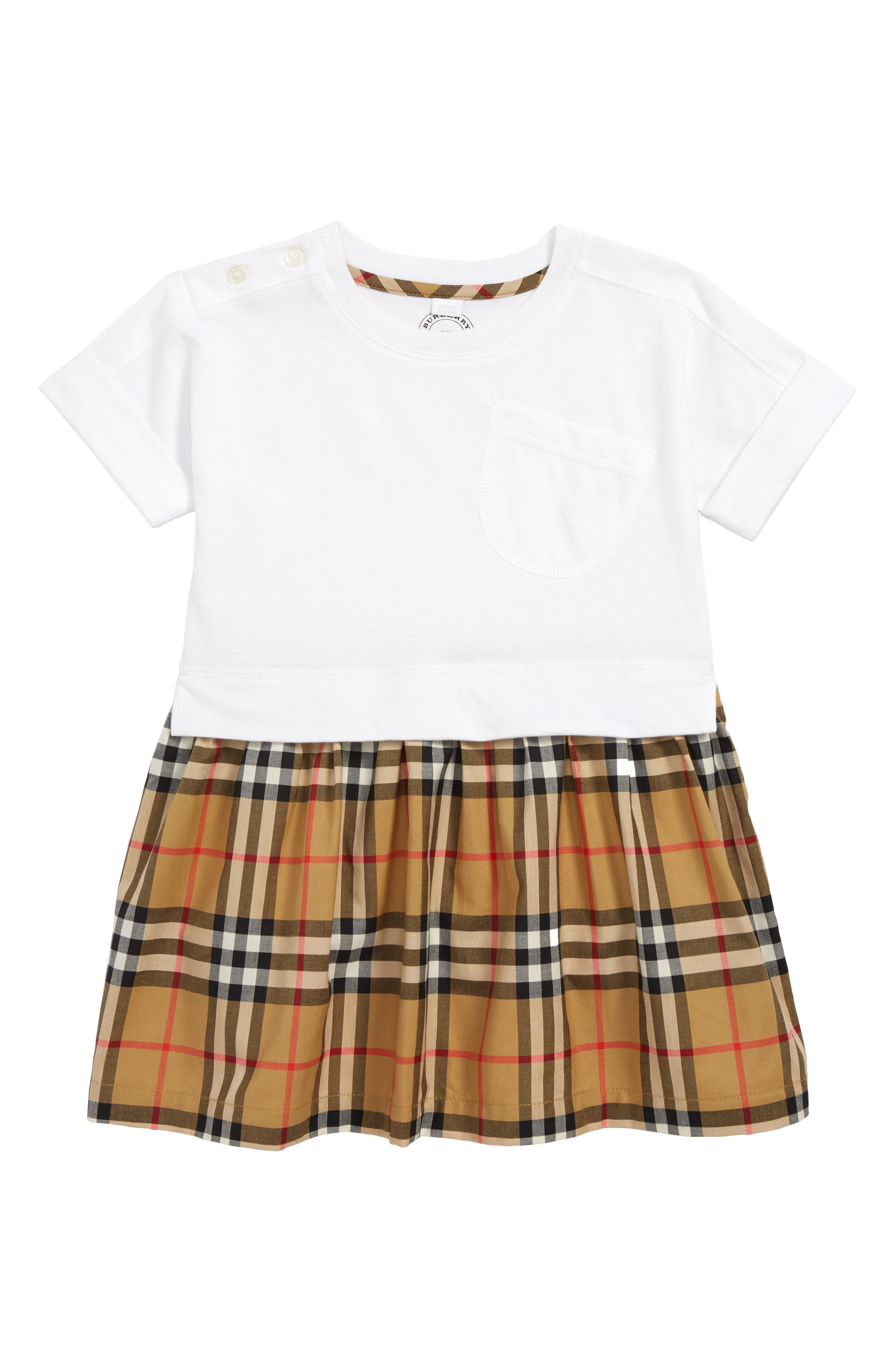 Ruby Vintage Check Cotton Dress,                         Main,                         color, WHITE