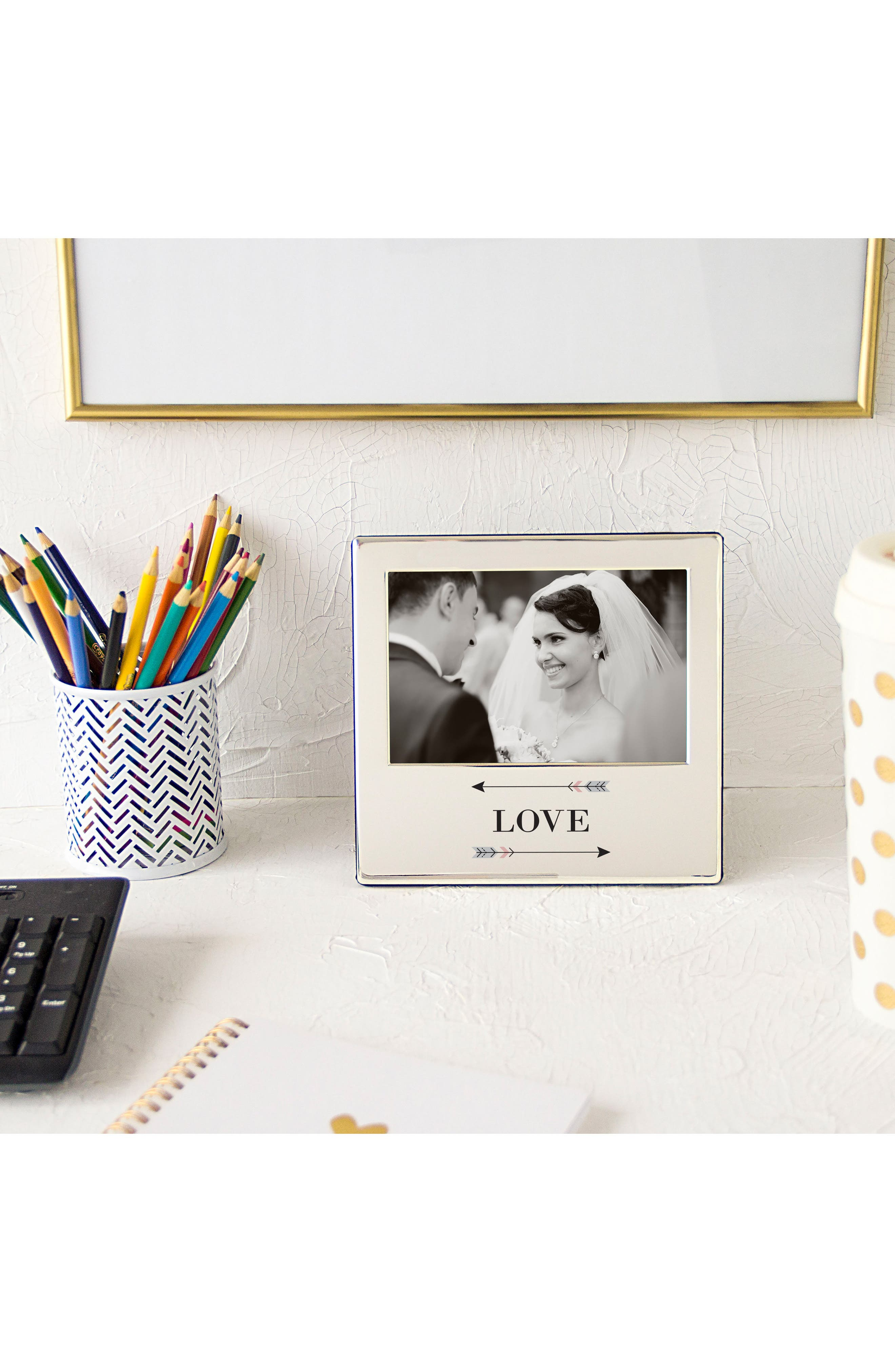 Love Arrows Silver Picture Frame,                             Alternate thumbnail 2, color,                             040
