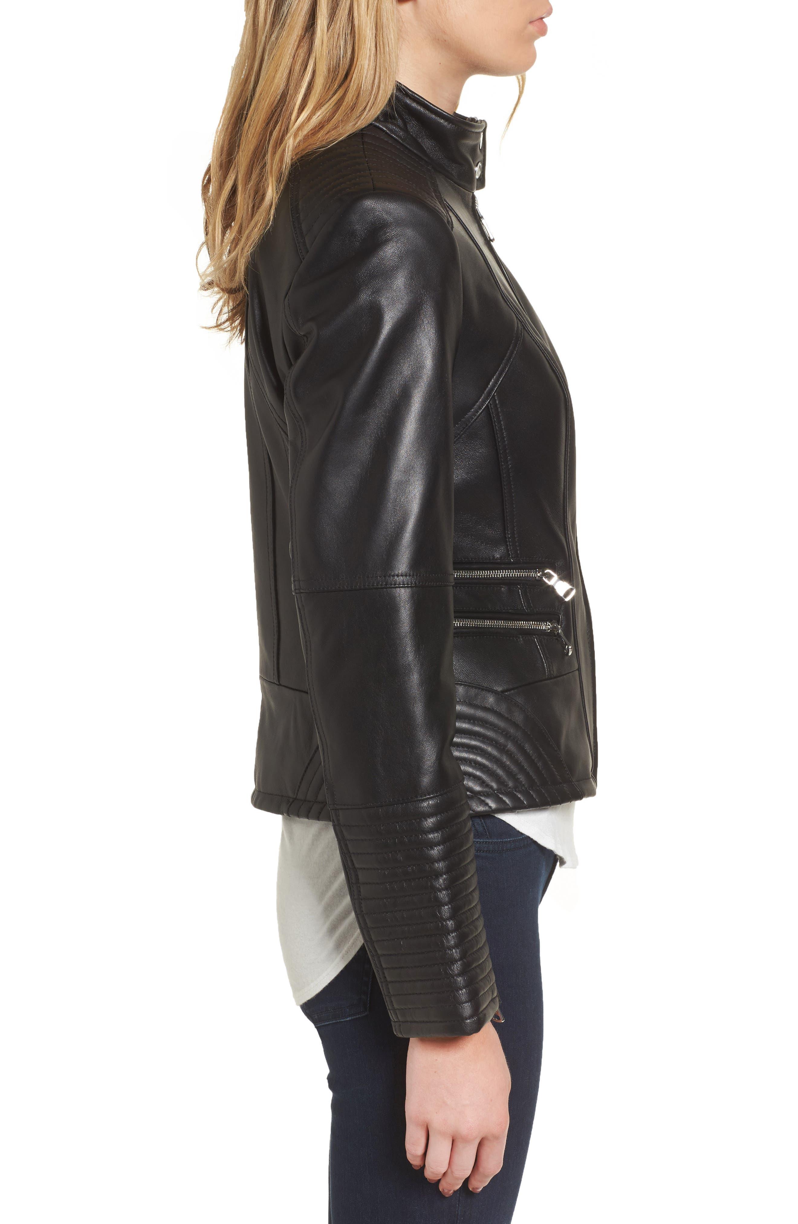 Double Zip Leather Moto Jacket,                             Alternate thumbnail 3, color,
