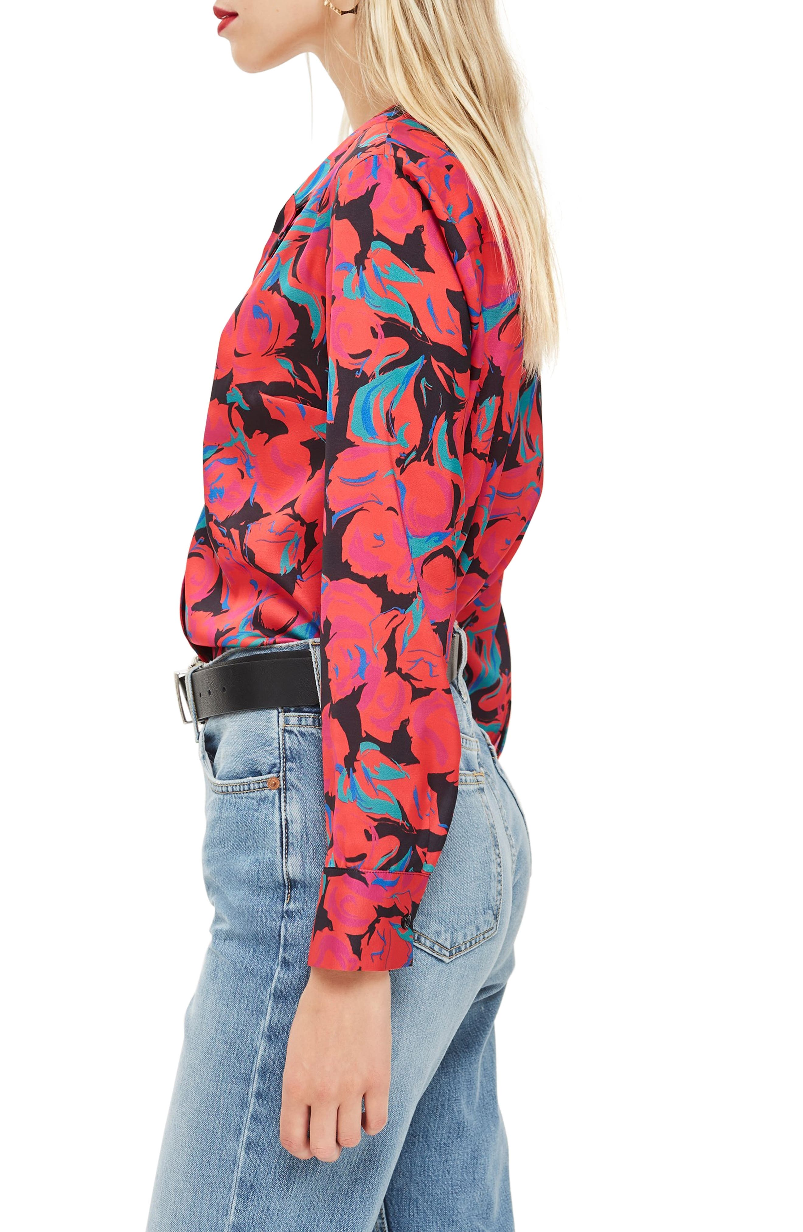 Floral Pajama Style Shirt,                             Alternate thumbnail 3, color,                             RED MULTI