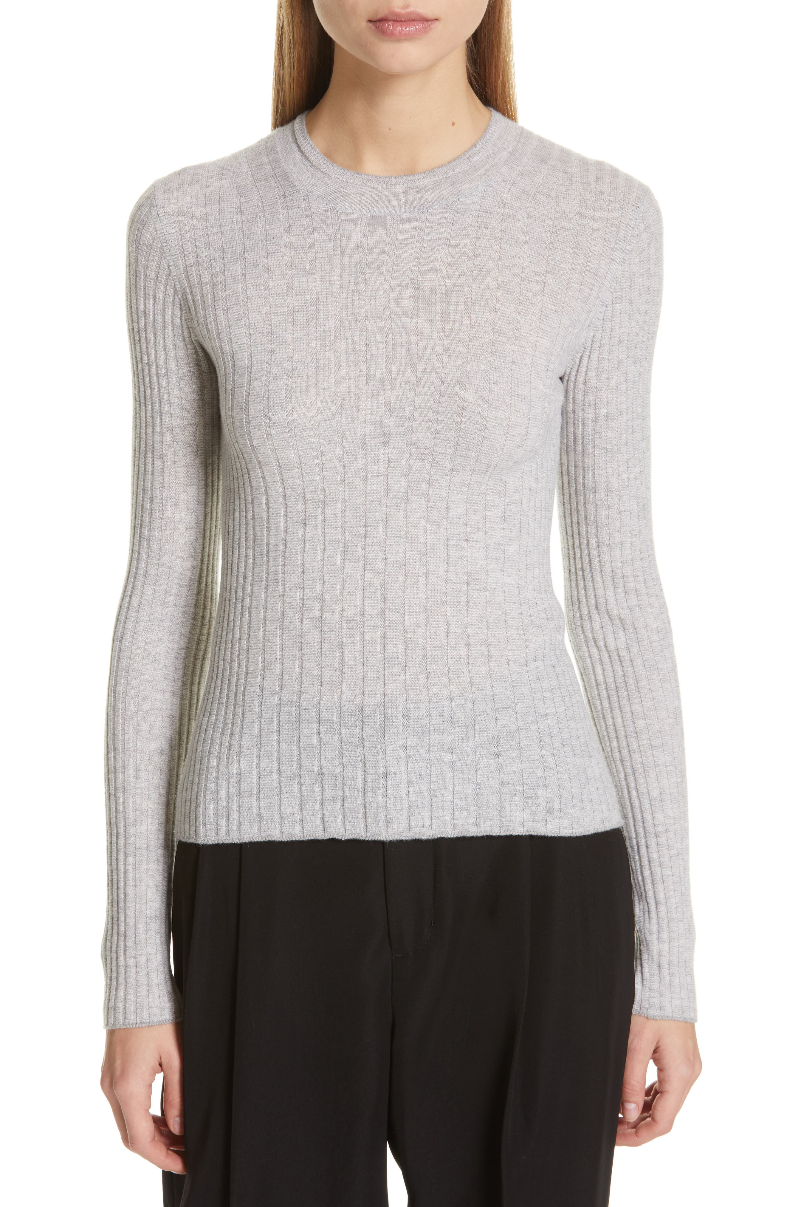 Mixed Rib Stitch Sweater, Main, color, H STEEL/ OFF WHITE