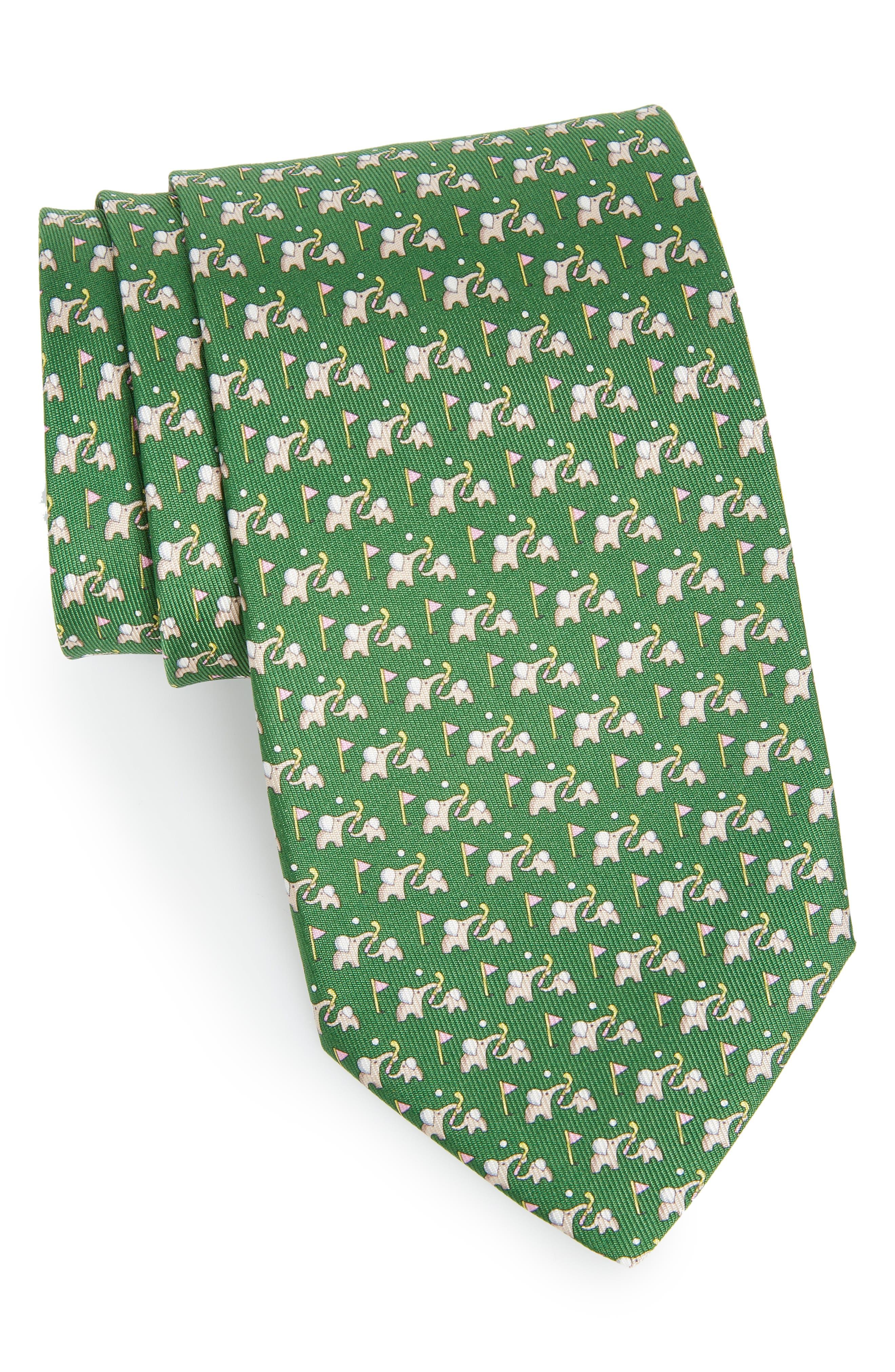 Erede Elephant Print Silk Tie,                         Main,                         color,