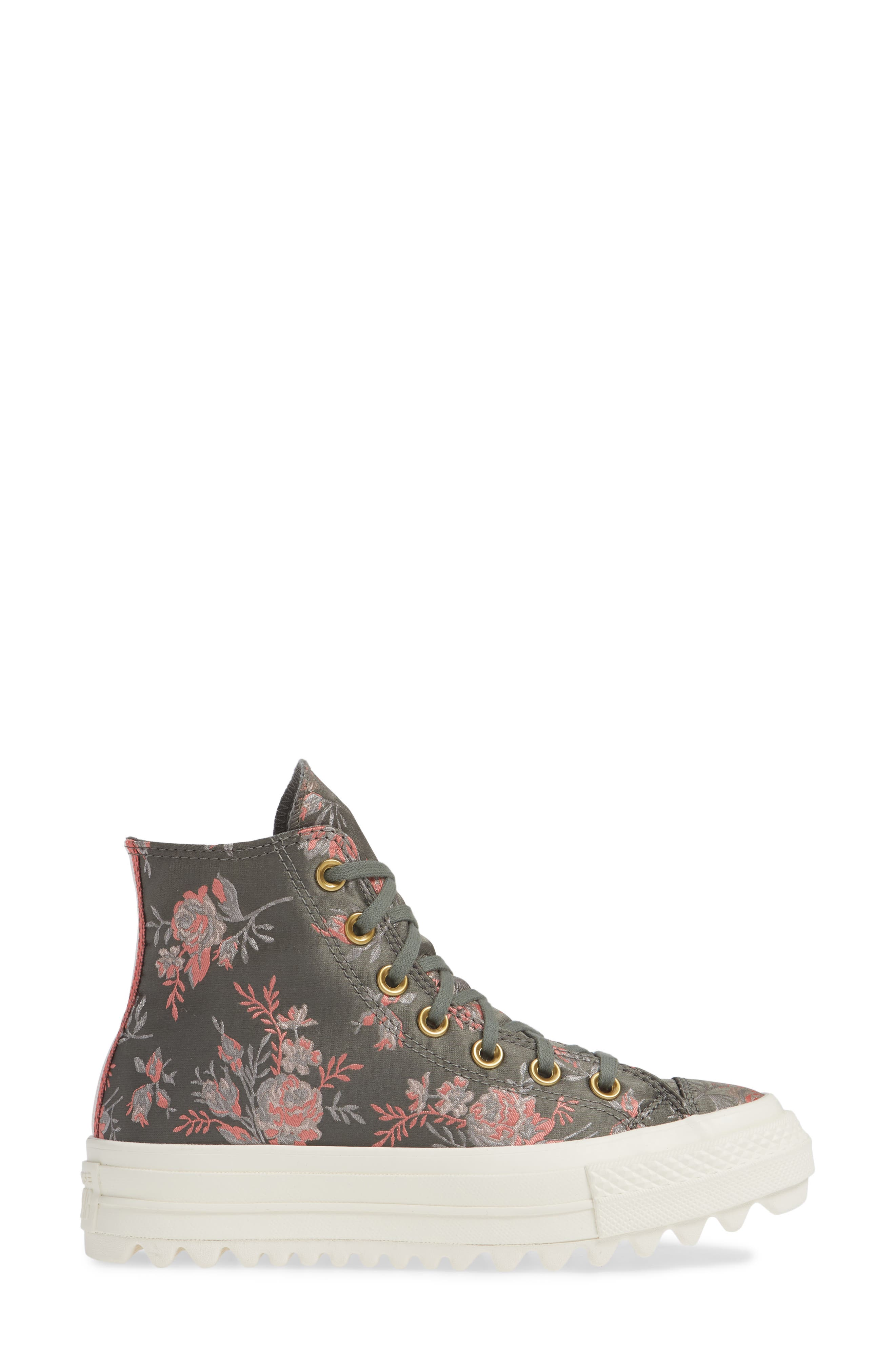 Chuck Taylor<sup>®</sup> All Star<sup>®</sup> Lift Ripple Parkway Floral High Top Sneaker,                             Alternate thumbnail 3, color,                             020