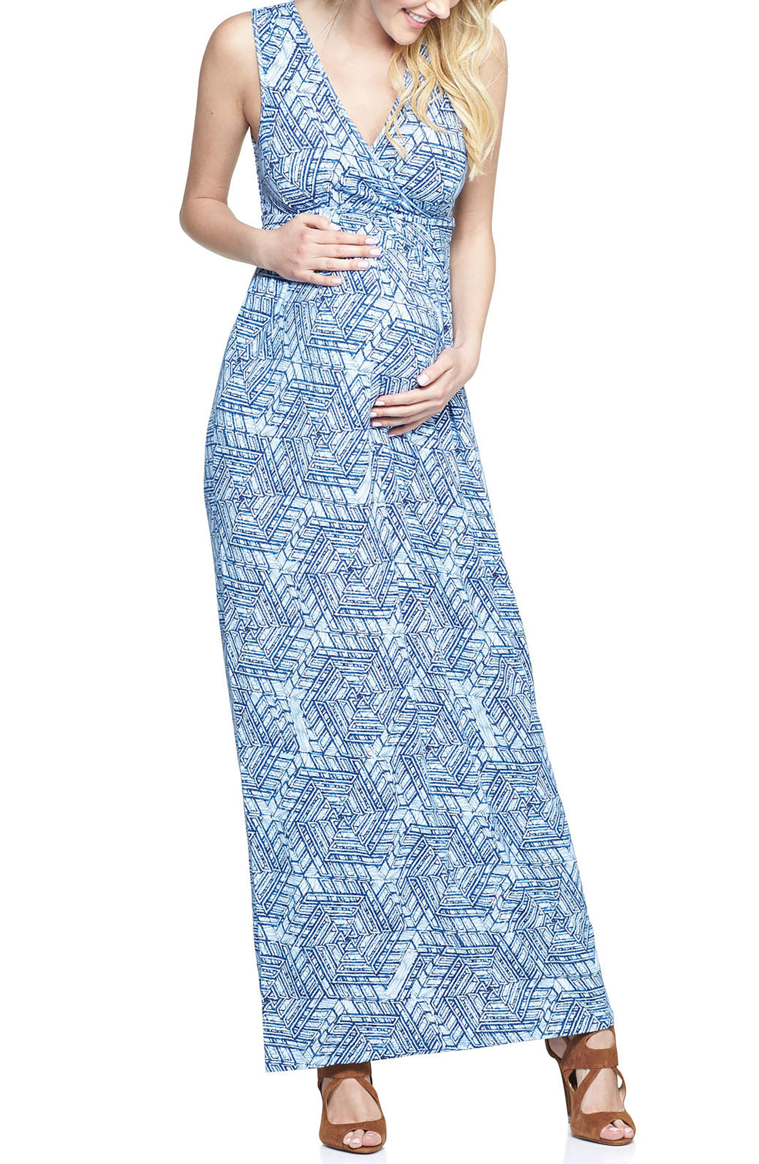 'Marsha' Maxi Maternity Dress,                             Main thumbnail 1, color,                             SCRIBBLE GEO