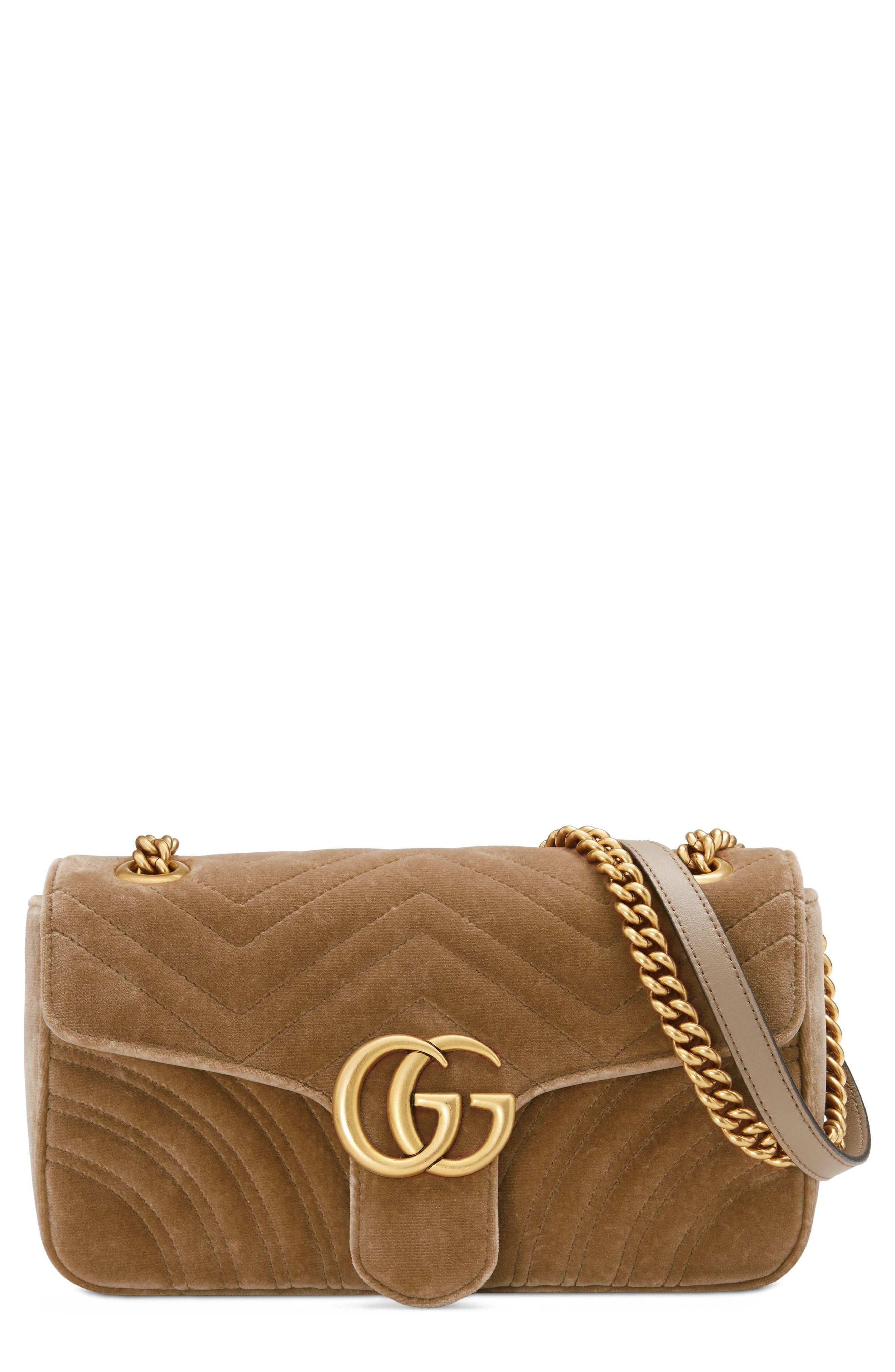 Medium GG Marmont 2.0 Matelassé Velvet Shoulder Bag,                             Main thumbnail 1, color,                             TAUPE/ TAUPE