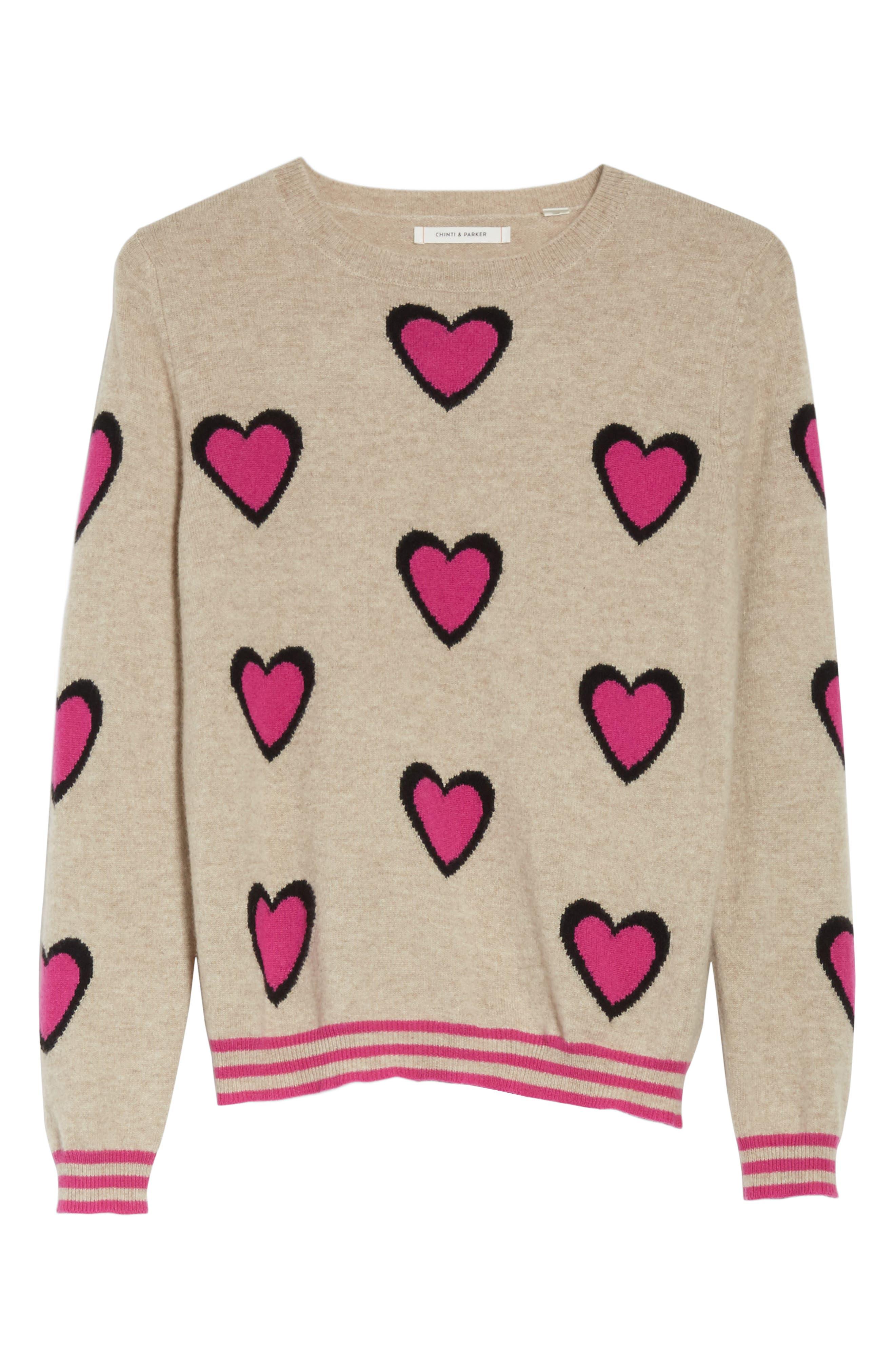 CHINTI & PARKER Heart Burst Cashmere Sweater,                             Alternate thumbnail 6, color,                             250