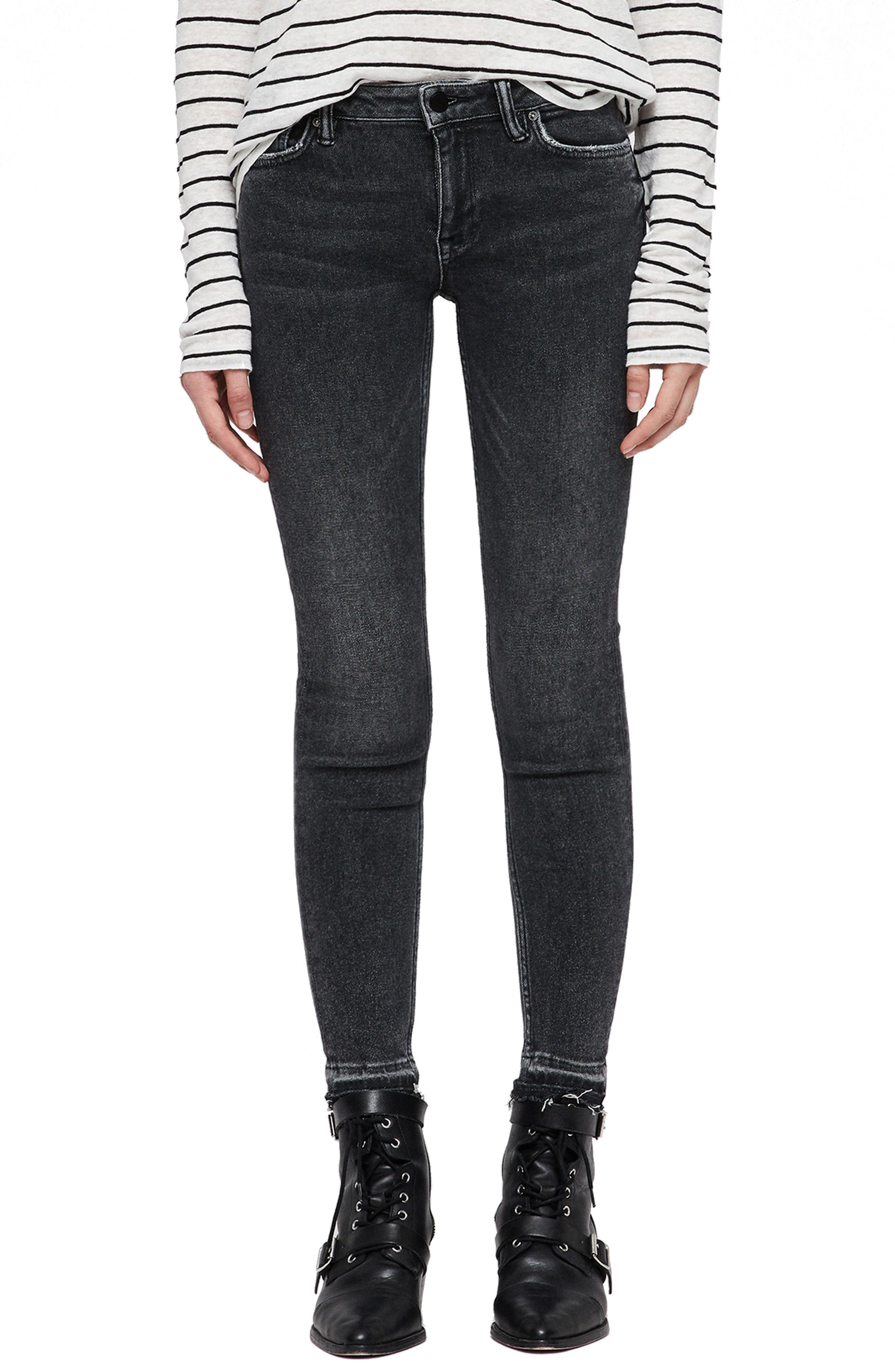 Mast Ankle Skinny Jeans,                             Main thumbnail 1, color,                             WASHED BLACK