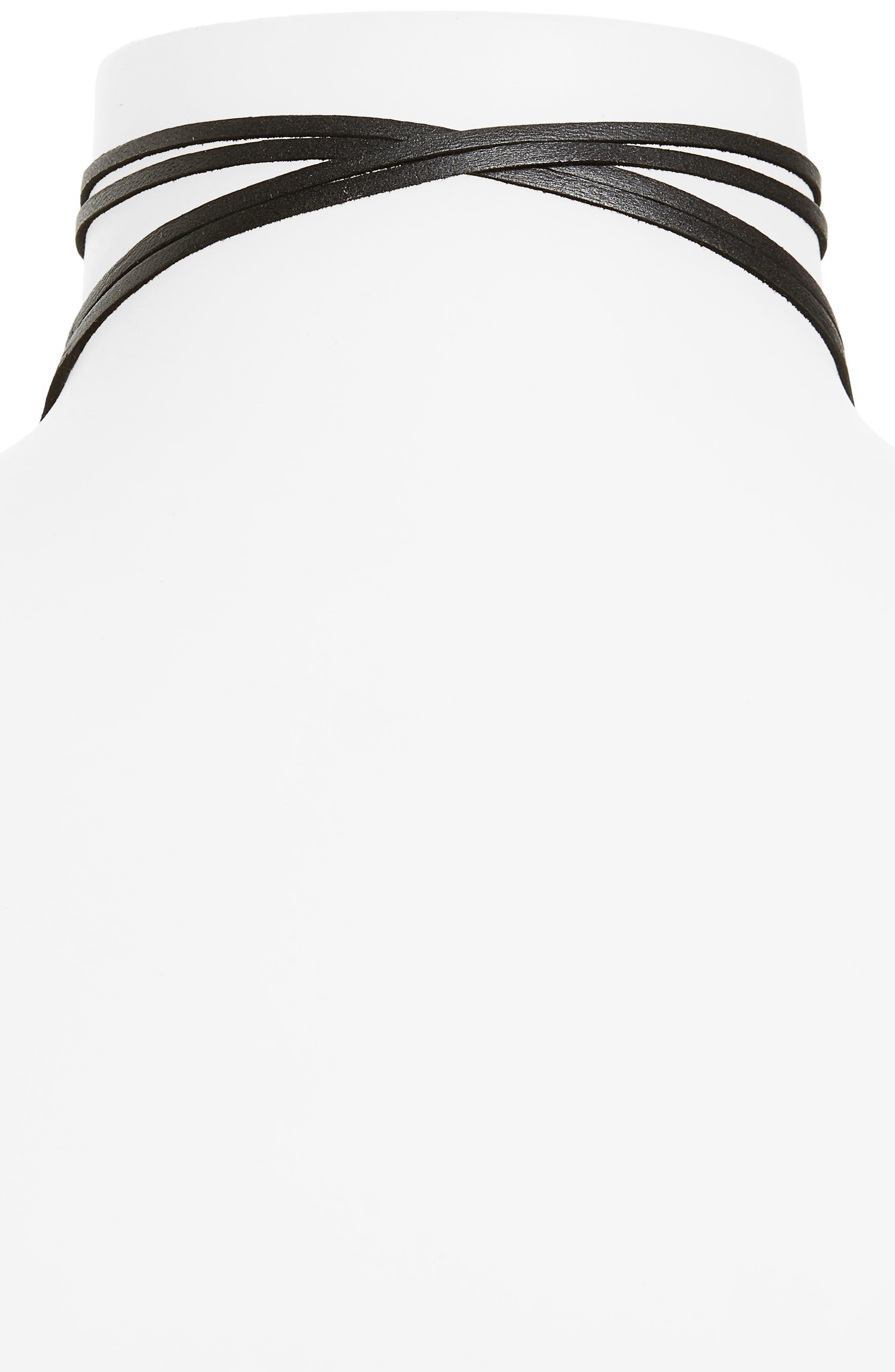 Double Strand Leather Wrap Necklace,                             Alternate thumbnail 2, color,                             040