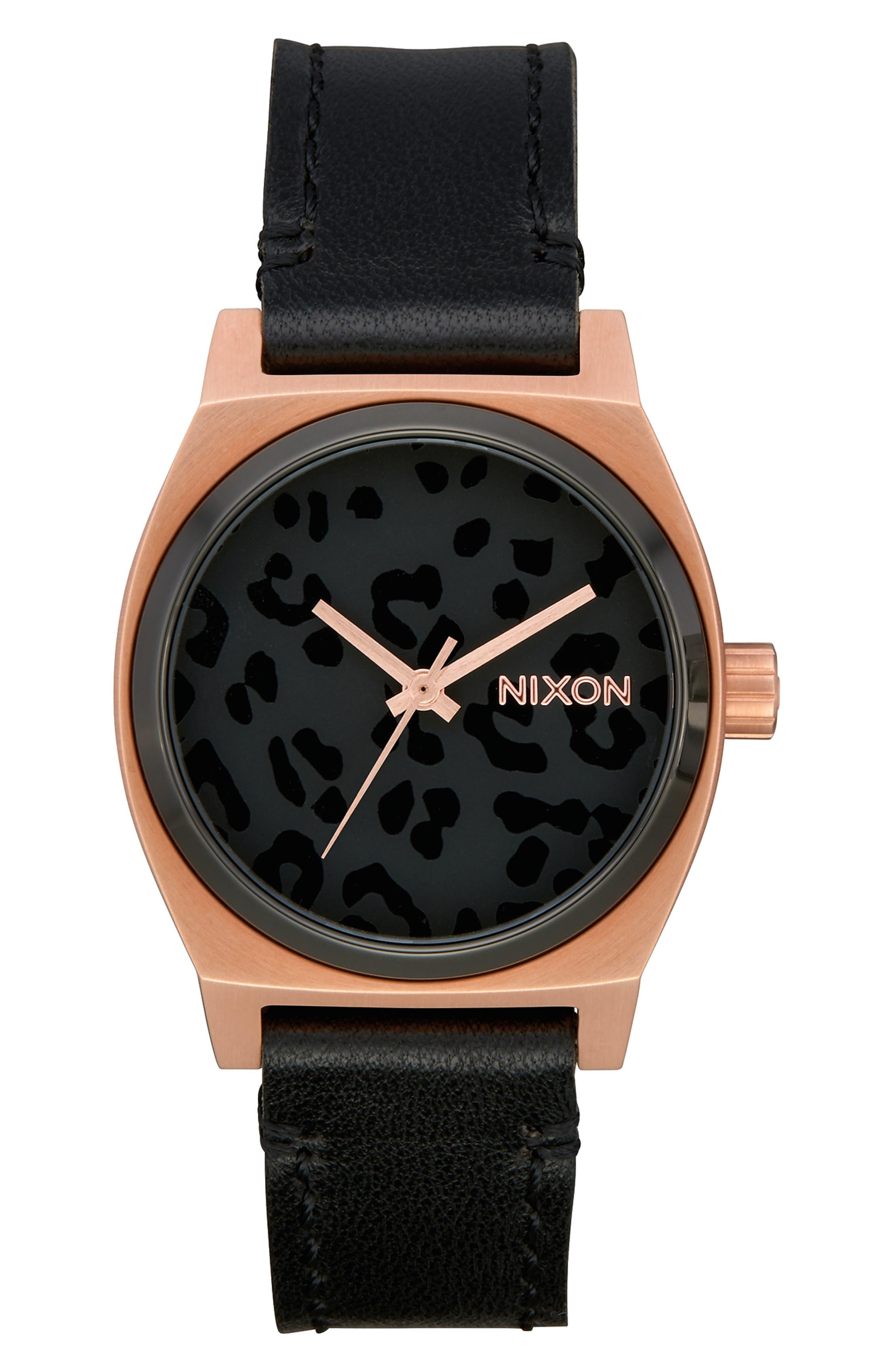 Medium Time Teller Leather Strap Watch, 31mm, Main, color, BLACK/ CHEETAH/ ROSE GOLD